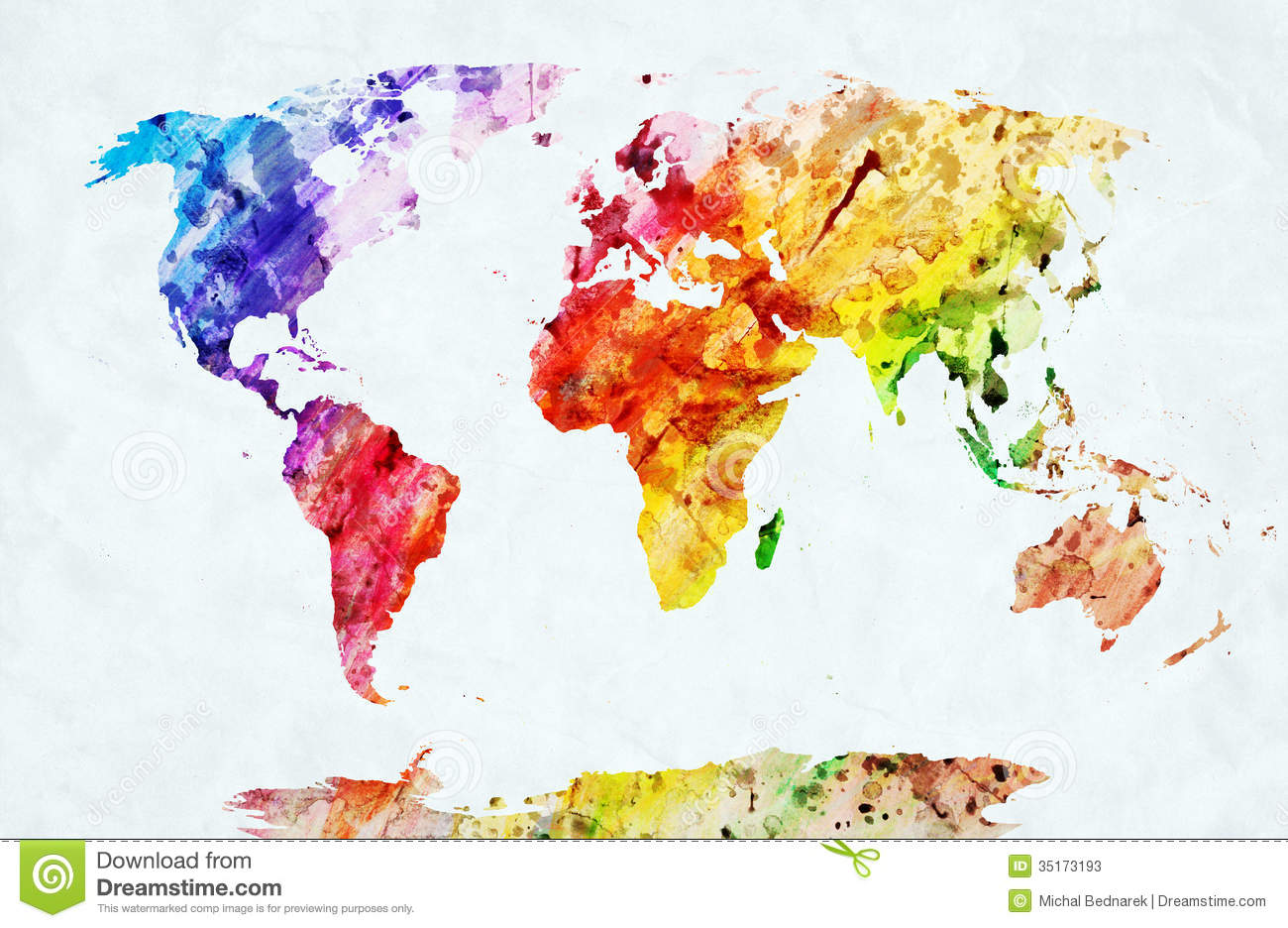 Watercolor World Map Stock Illustration Of Continents