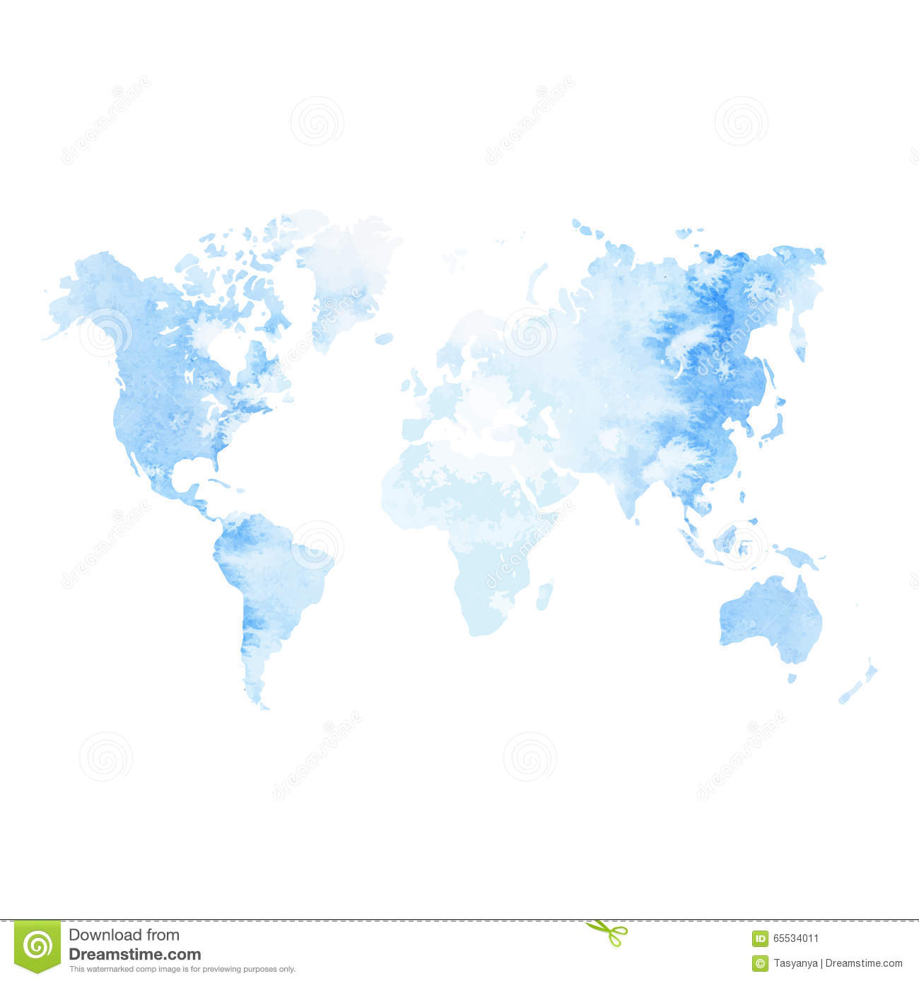 Watercolor world map stock vector illustration of earth 65534011 watercolor world map gumiabroncs Choice Image