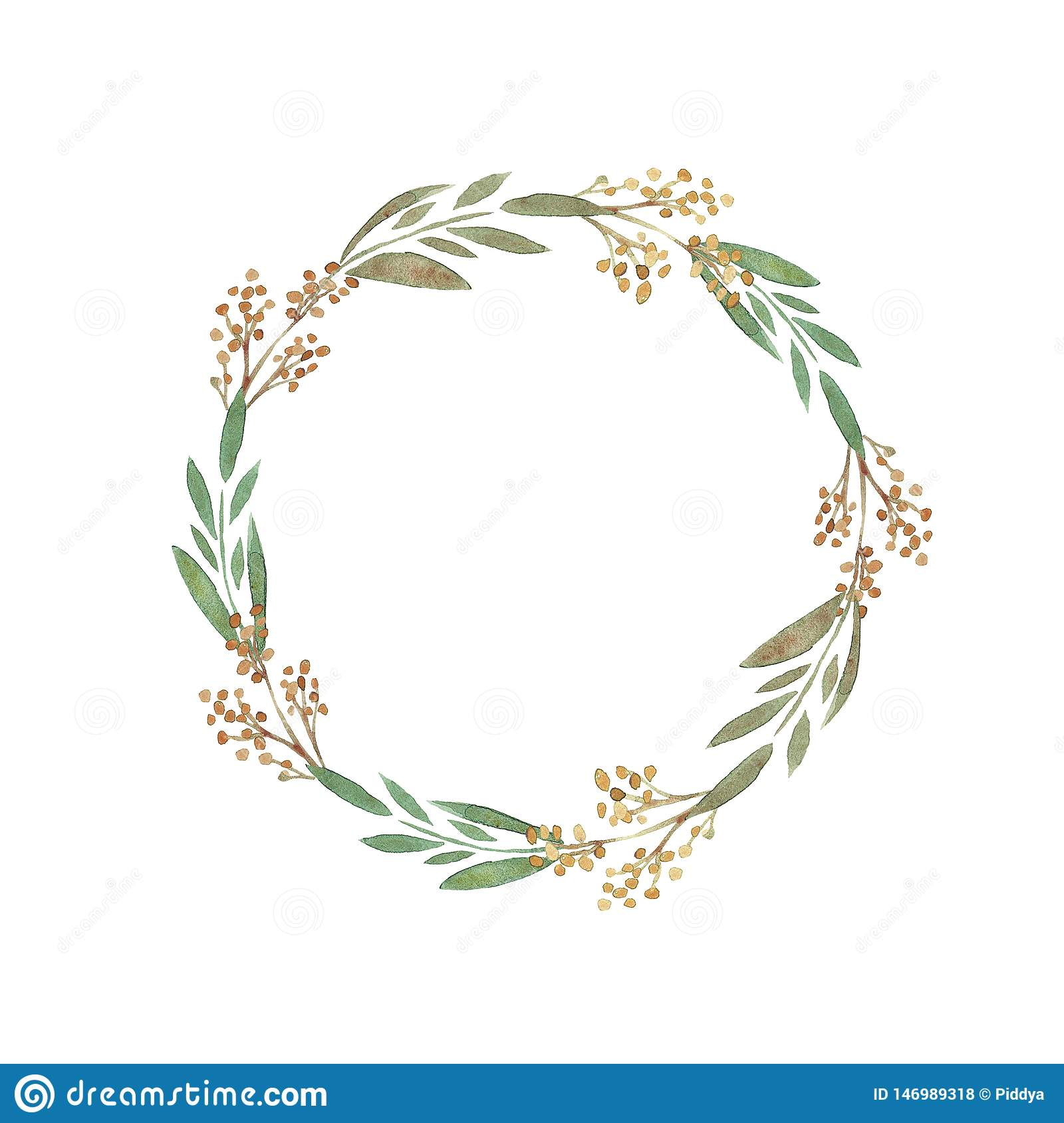 Watercolor wreath of branches