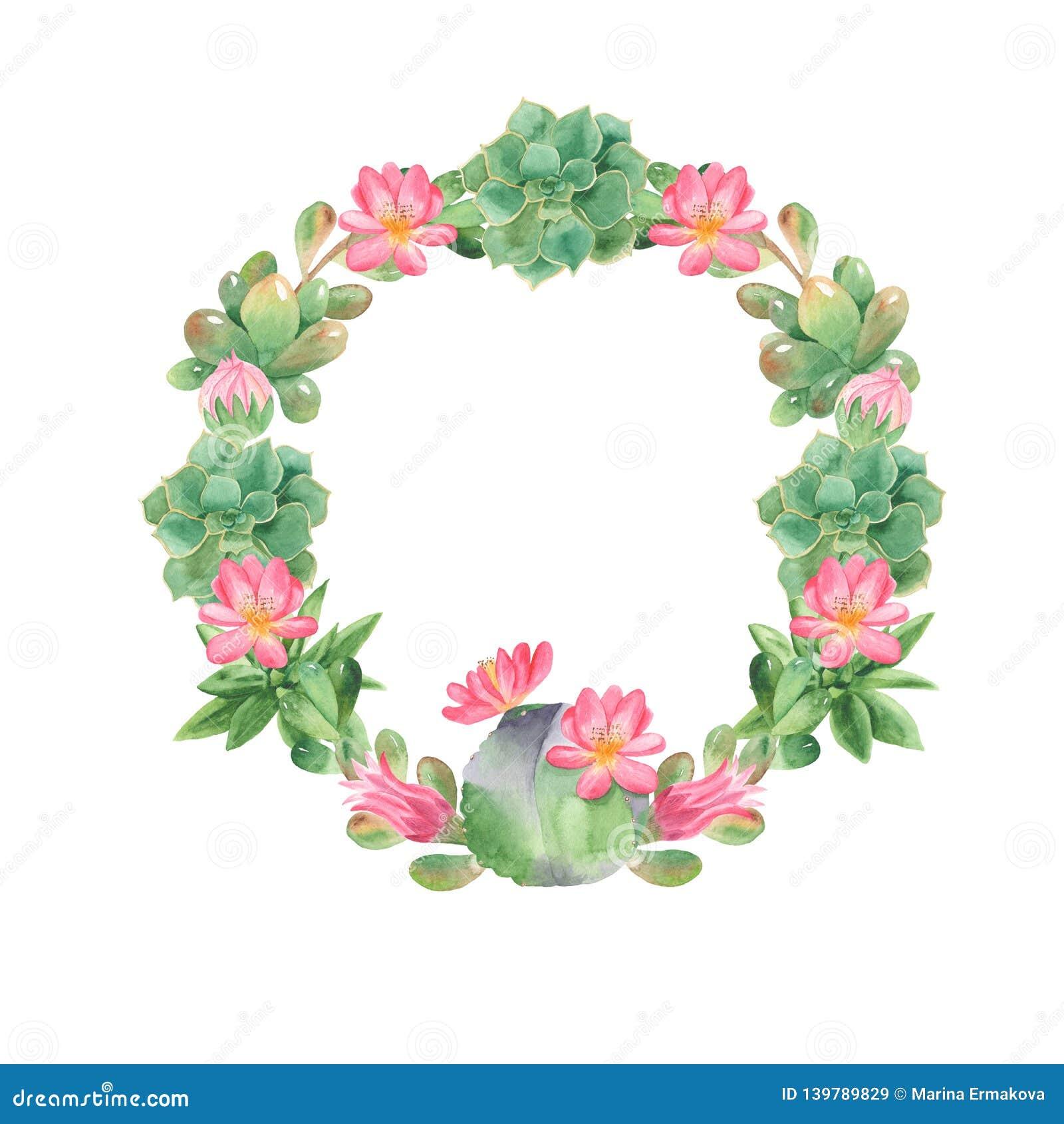 watercolor border cactus cacti succulents green frame