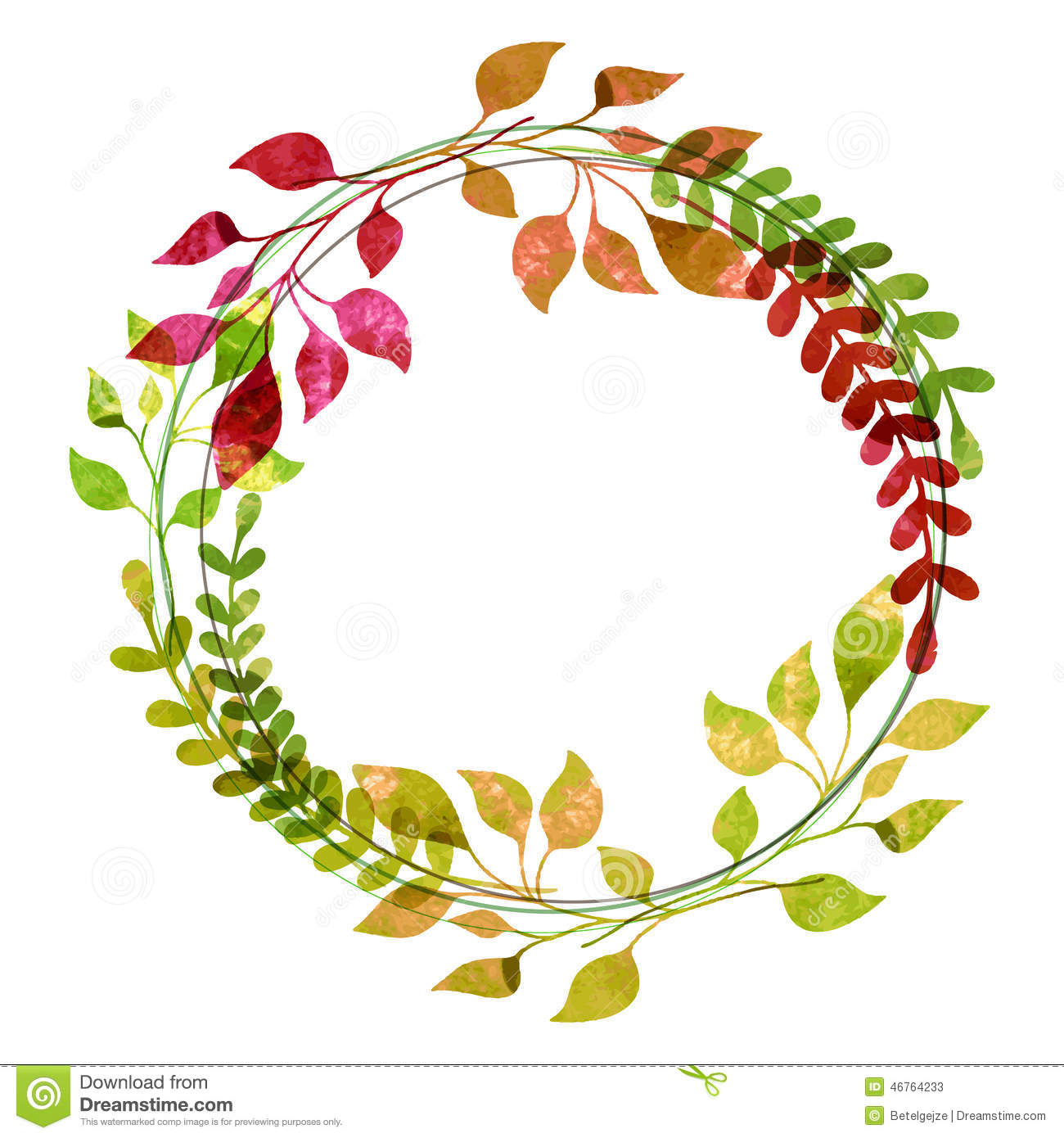 Download Watercolor Wreath From Colorful Autumn Leaves Vector Illustrati Stock