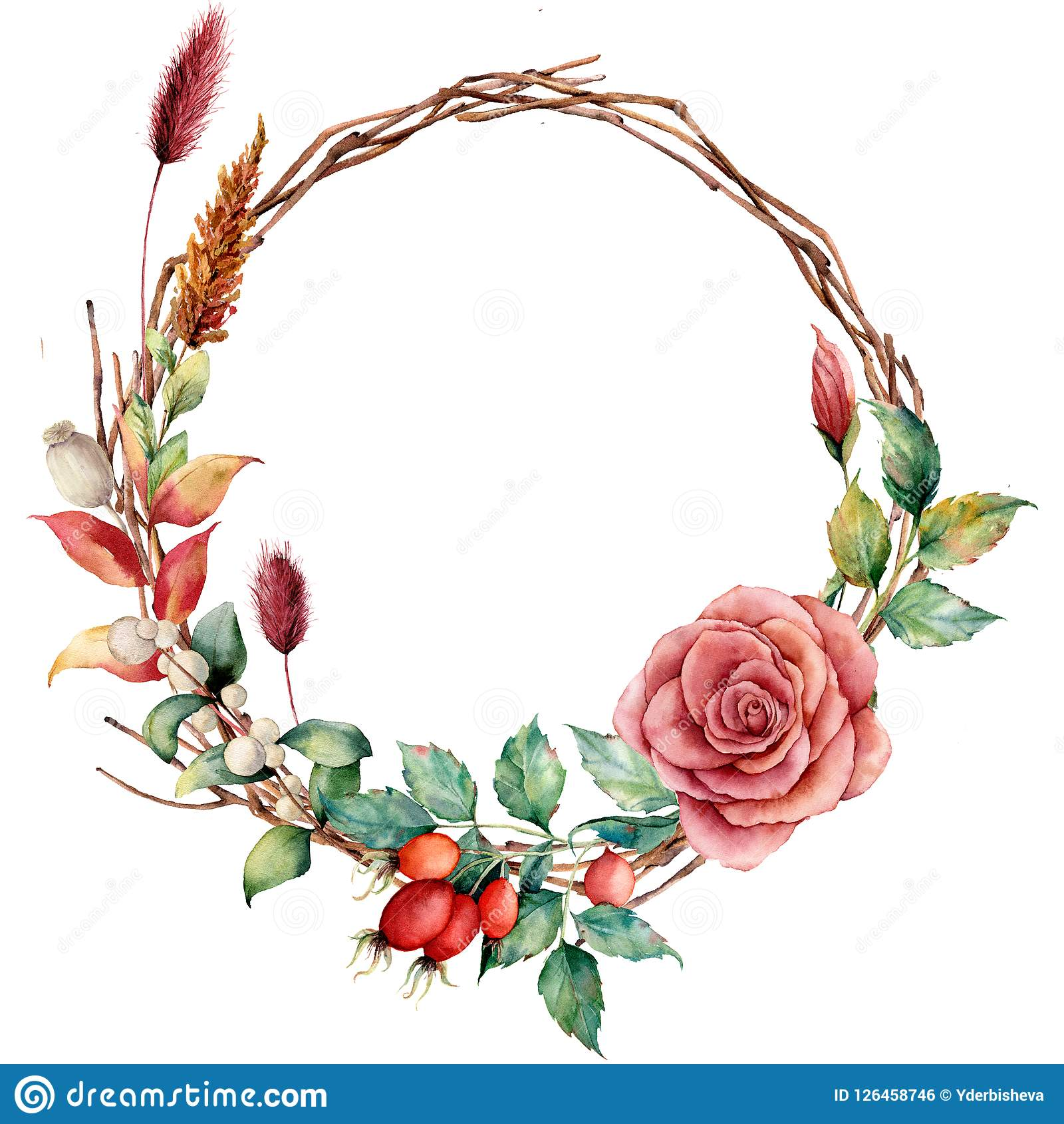 Watercolor wreath with dogrose and flower. Hand painted tree border with dahlia, tree branch and leaves, lagurus
