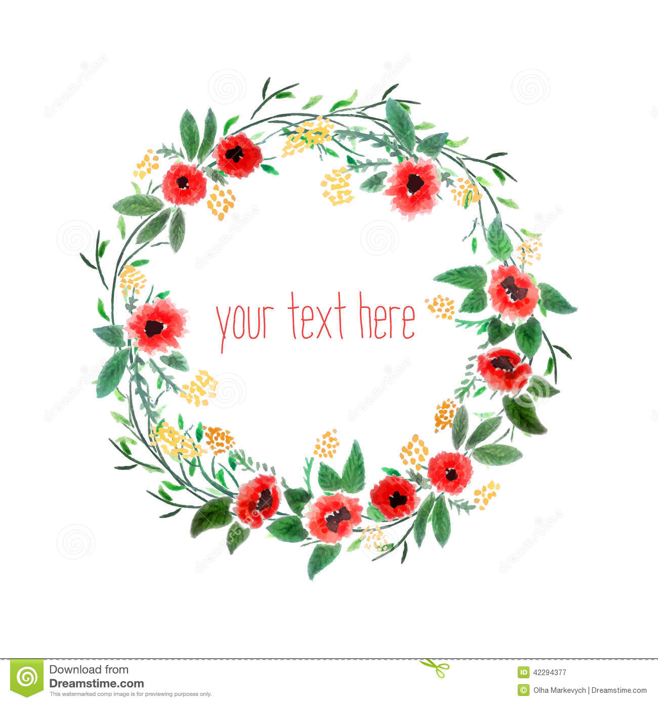 Watercolor Wreath With Flowers Stock Vector - Image: 42294377