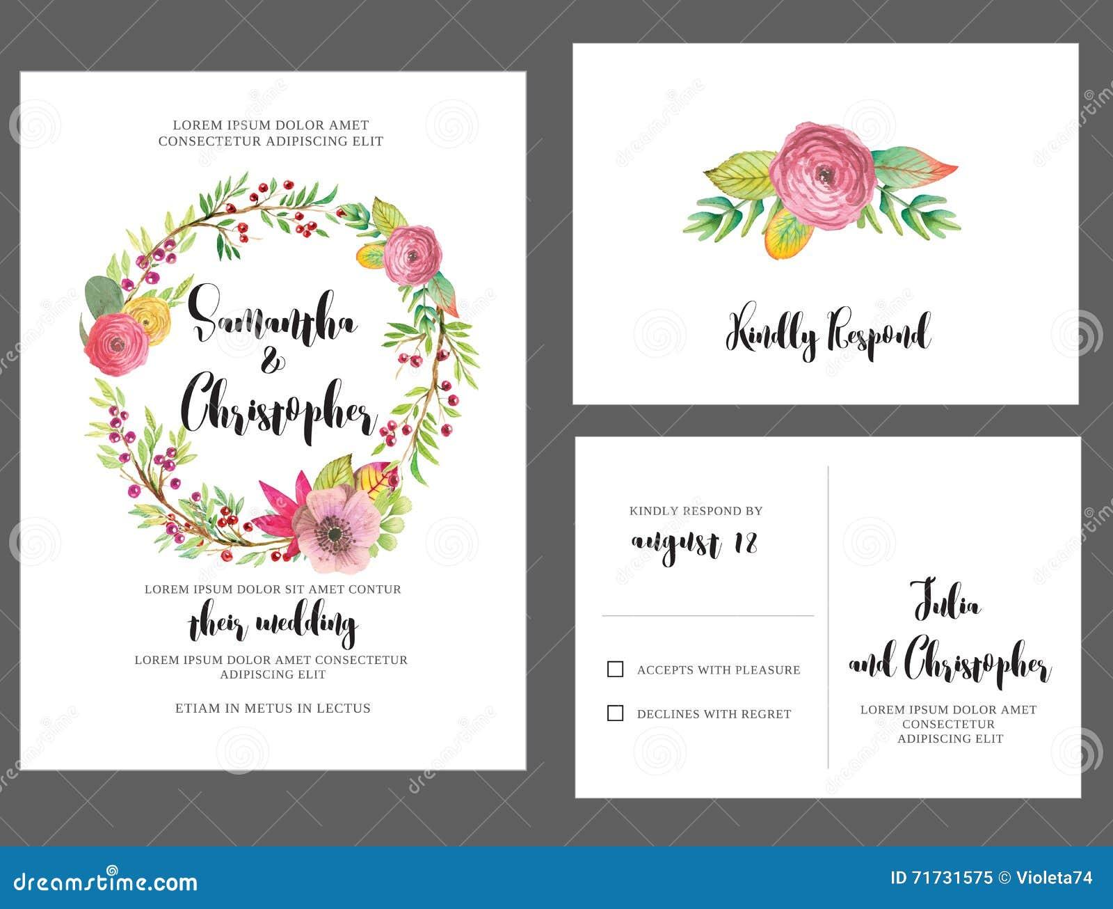 Watercolor Wreath Wedding Invitation Card Stock Vector ...
