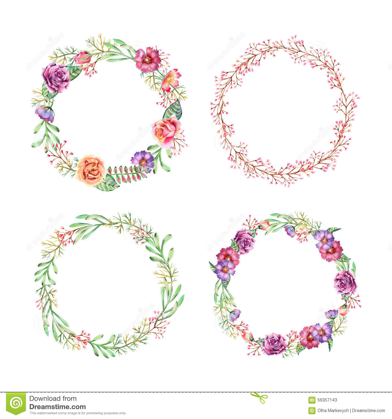 Watercolor wreaths stock vector. Image of decoration ...