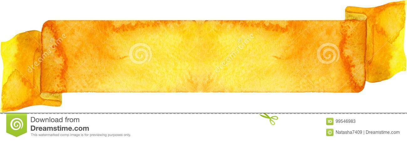 4507b39a1432553457 Fb Xl Png: Watercolor Yellow Banner. Stock Illustration. Illustration