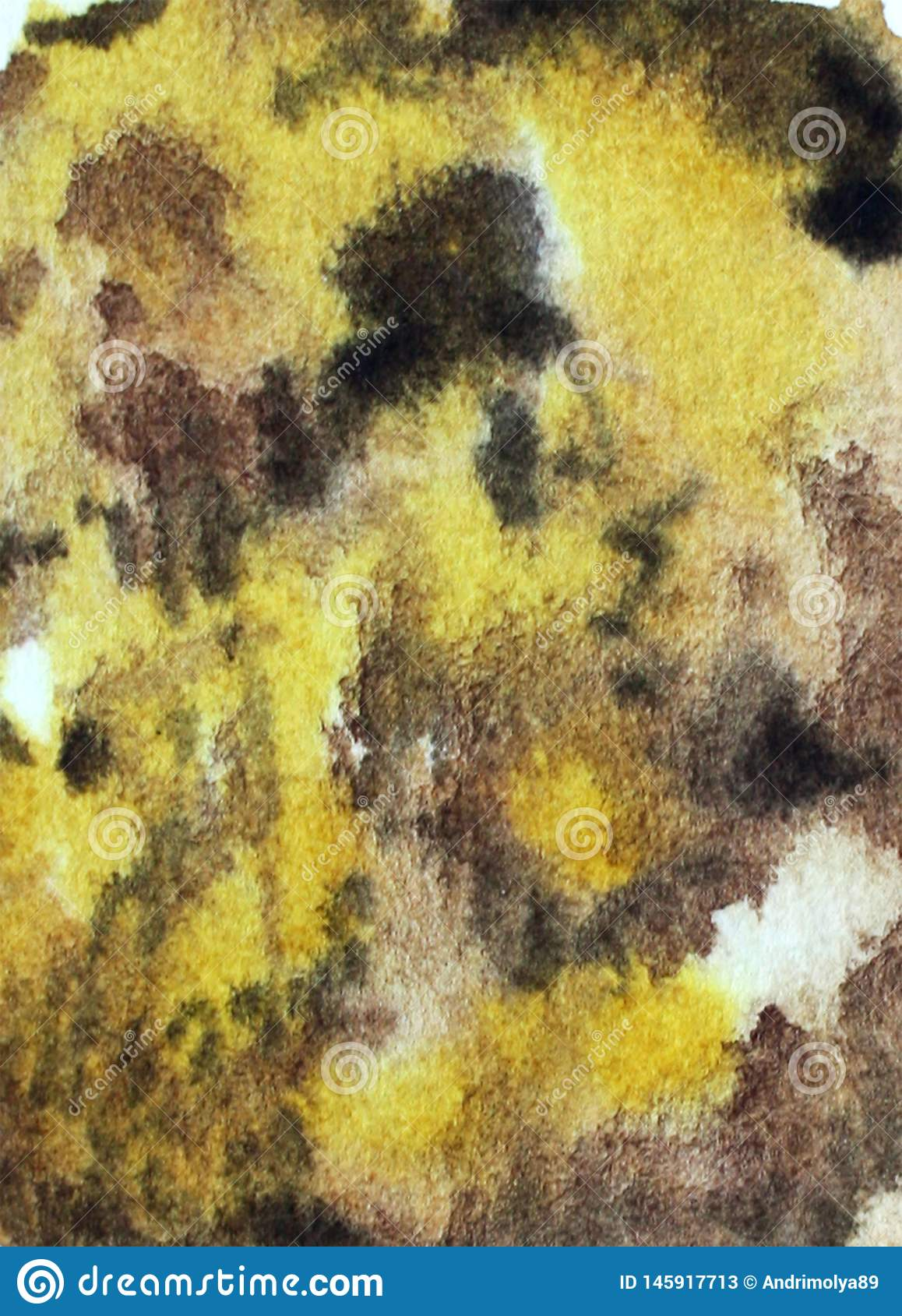 Watercolor yellow brown background
