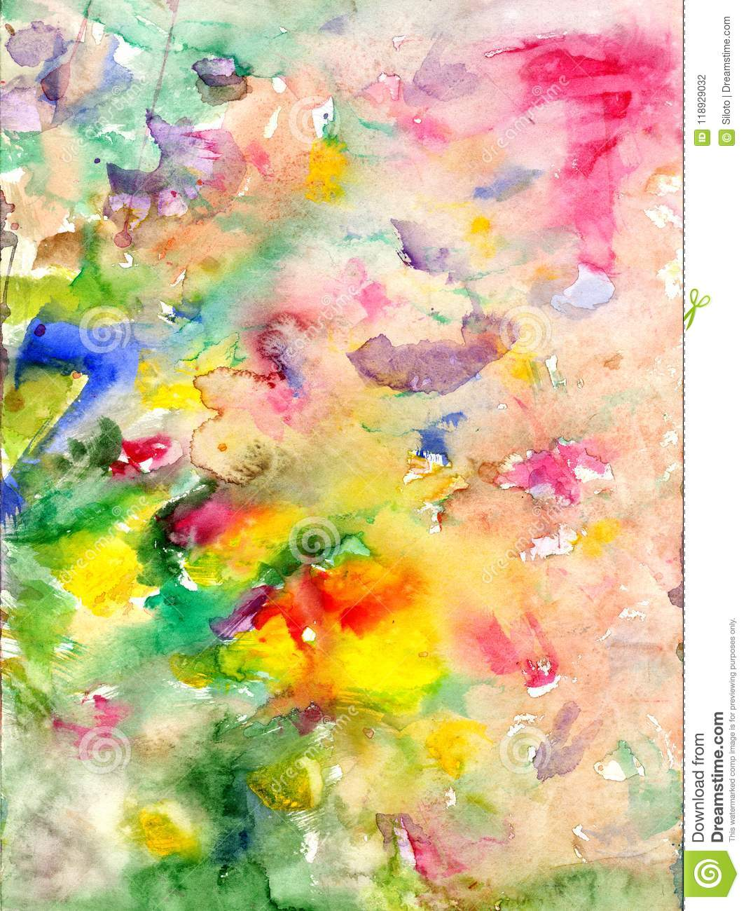Watercolors stains and flowing paints
