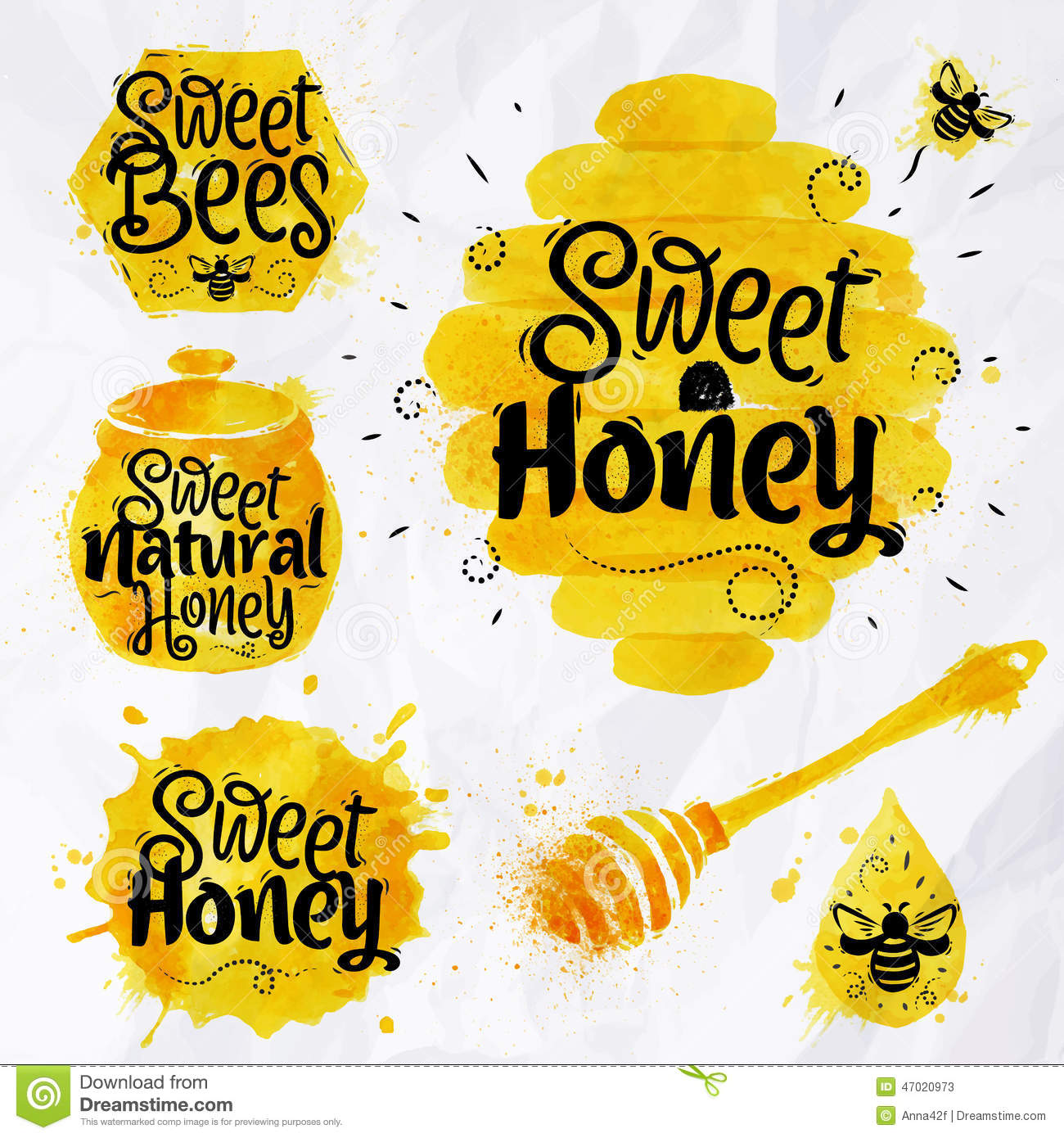 watercolors symbols honey vintage bee vector free Killer Bee Vector