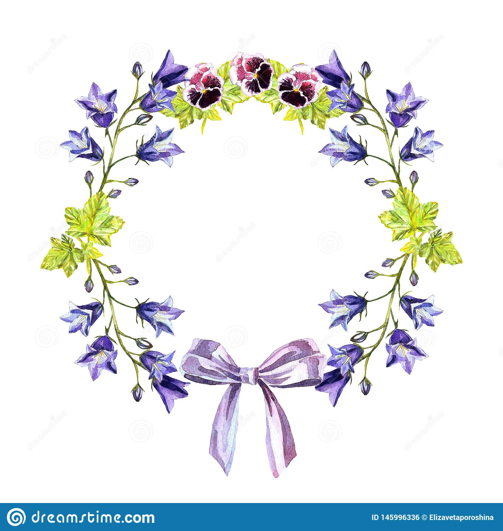 Watercolour circle frame of bluebells, leaves, purple violets and bow of light-purple ribbon