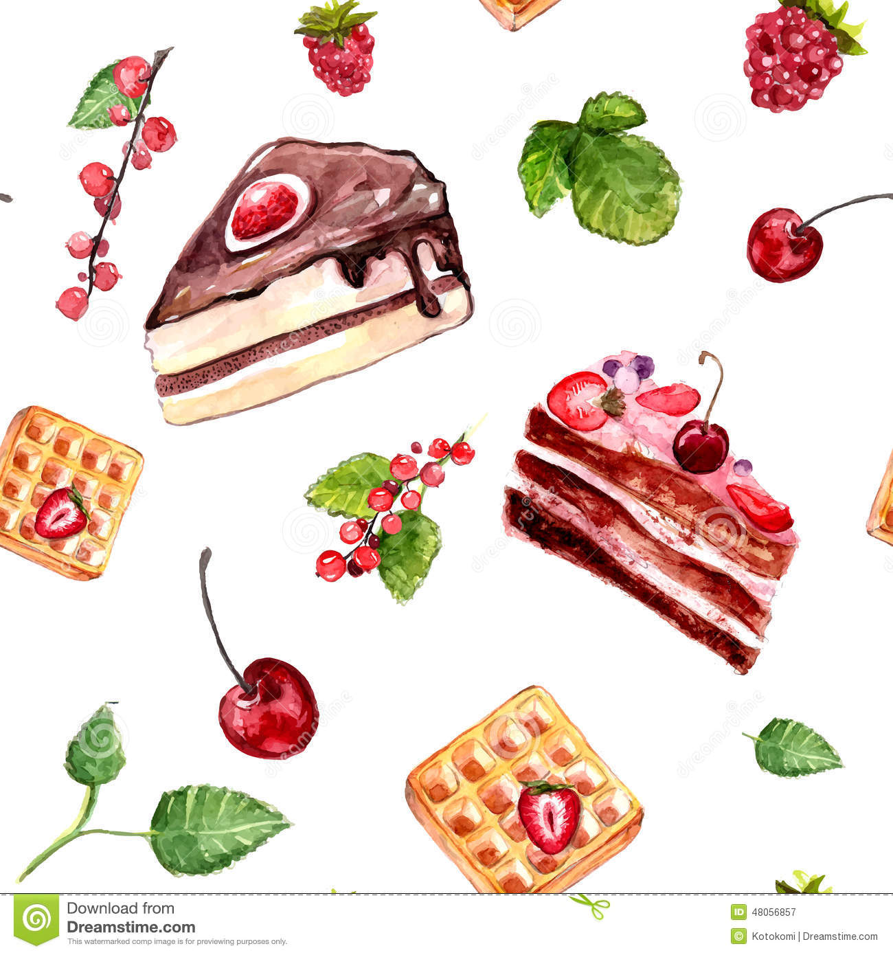 Watercolour Desserts Seamless Pattern With Cakes Red