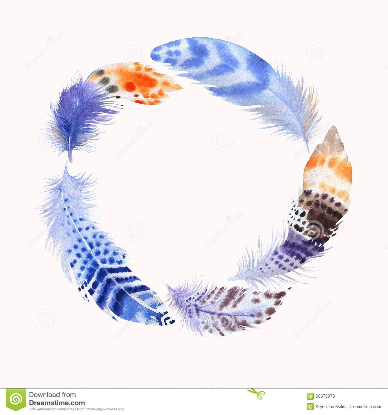 Watercolour Feathers. Wreath Border. Watercolor For ...