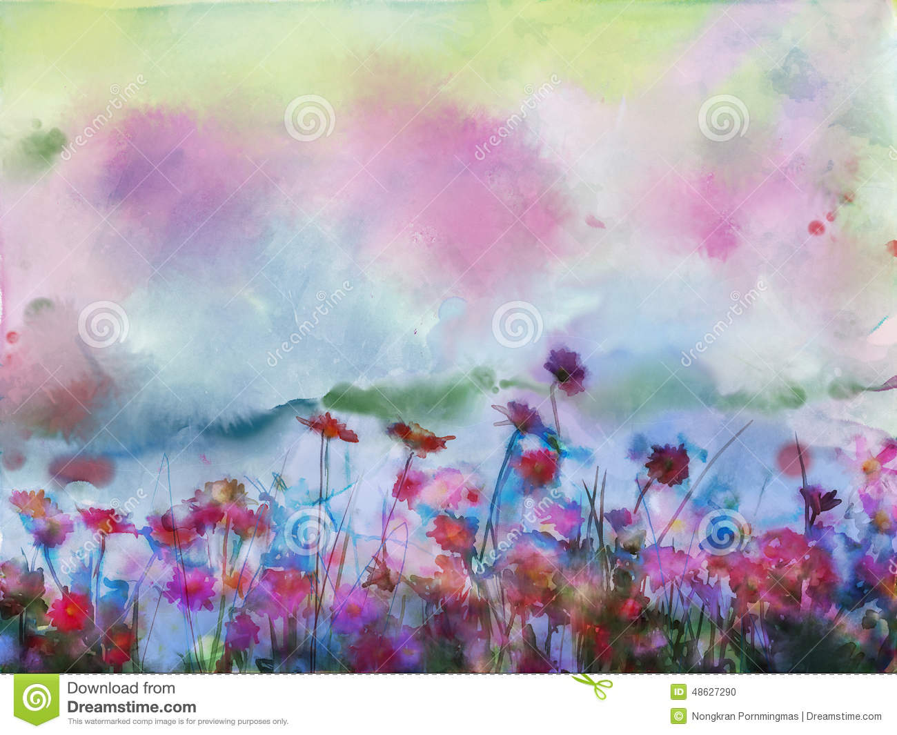 Watercolour flowers painting.Flowers in soft color and blur style