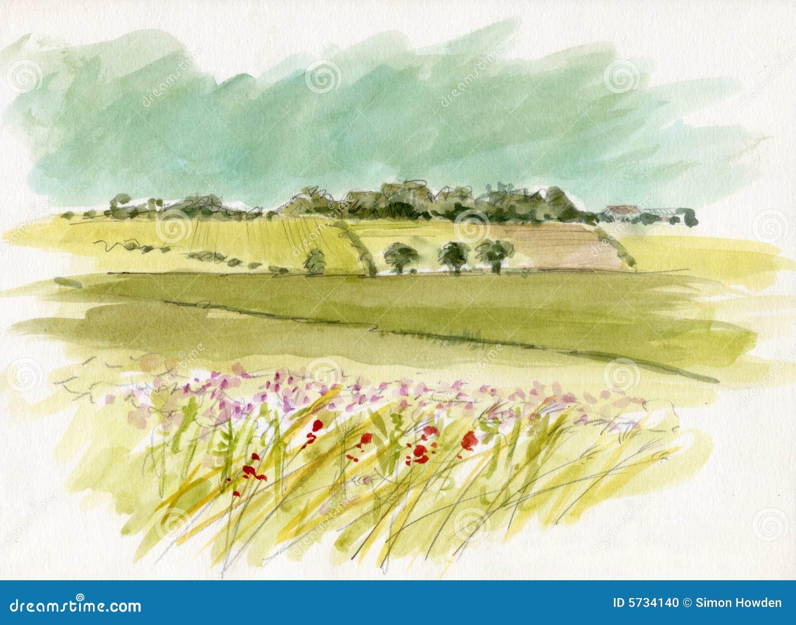 Landscape Illustration Vector Free: Watercolour Landscape Sketch Stock Photo