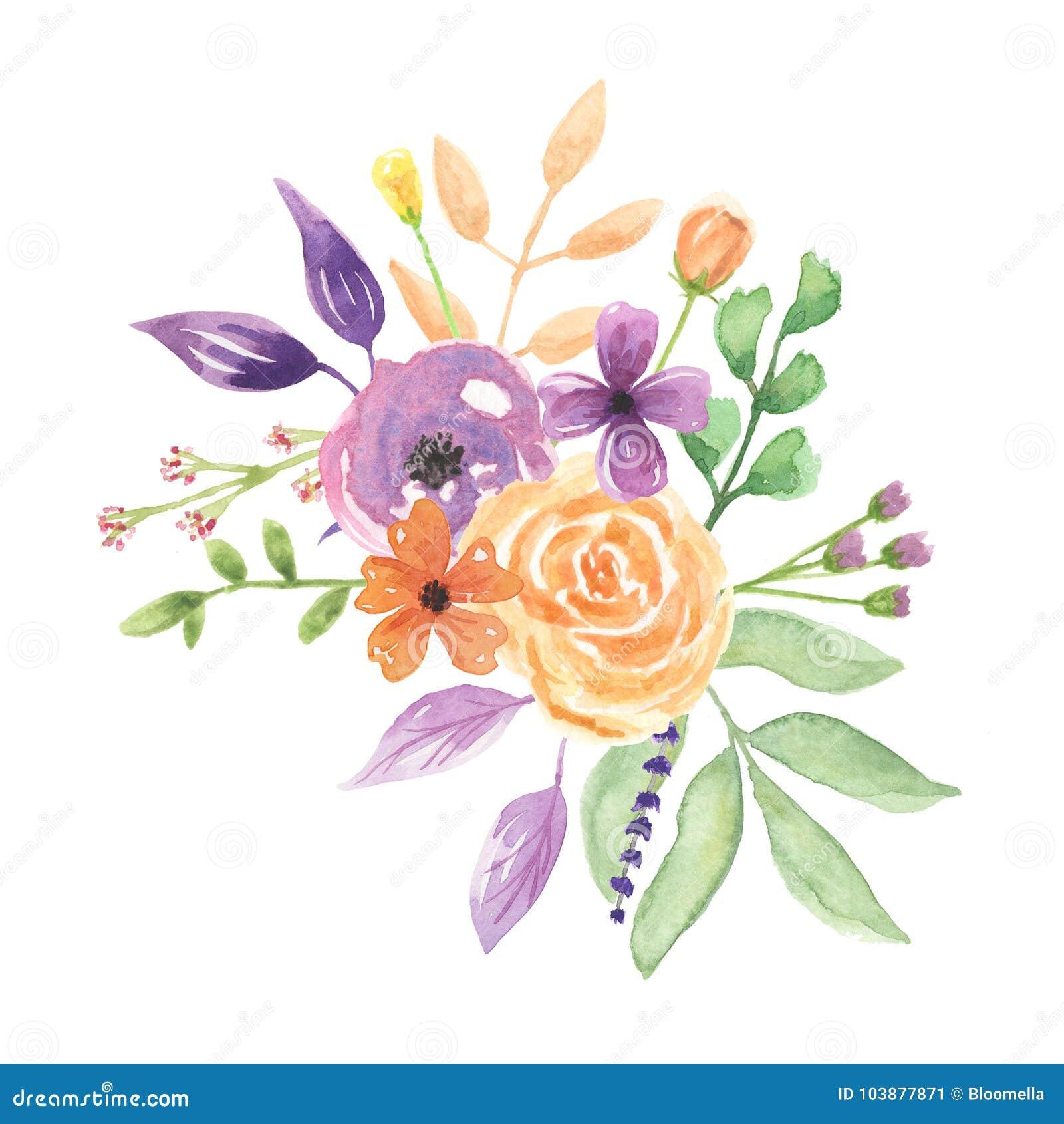 Watercolour Lavendel Blumenstrauss Anordnungs Hubsche Hochzeits
