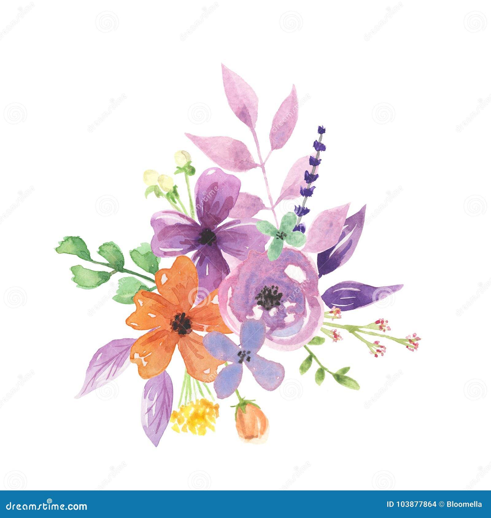 Watercolour Lavender Florals Berries Peach Bouquet Arrangement ...