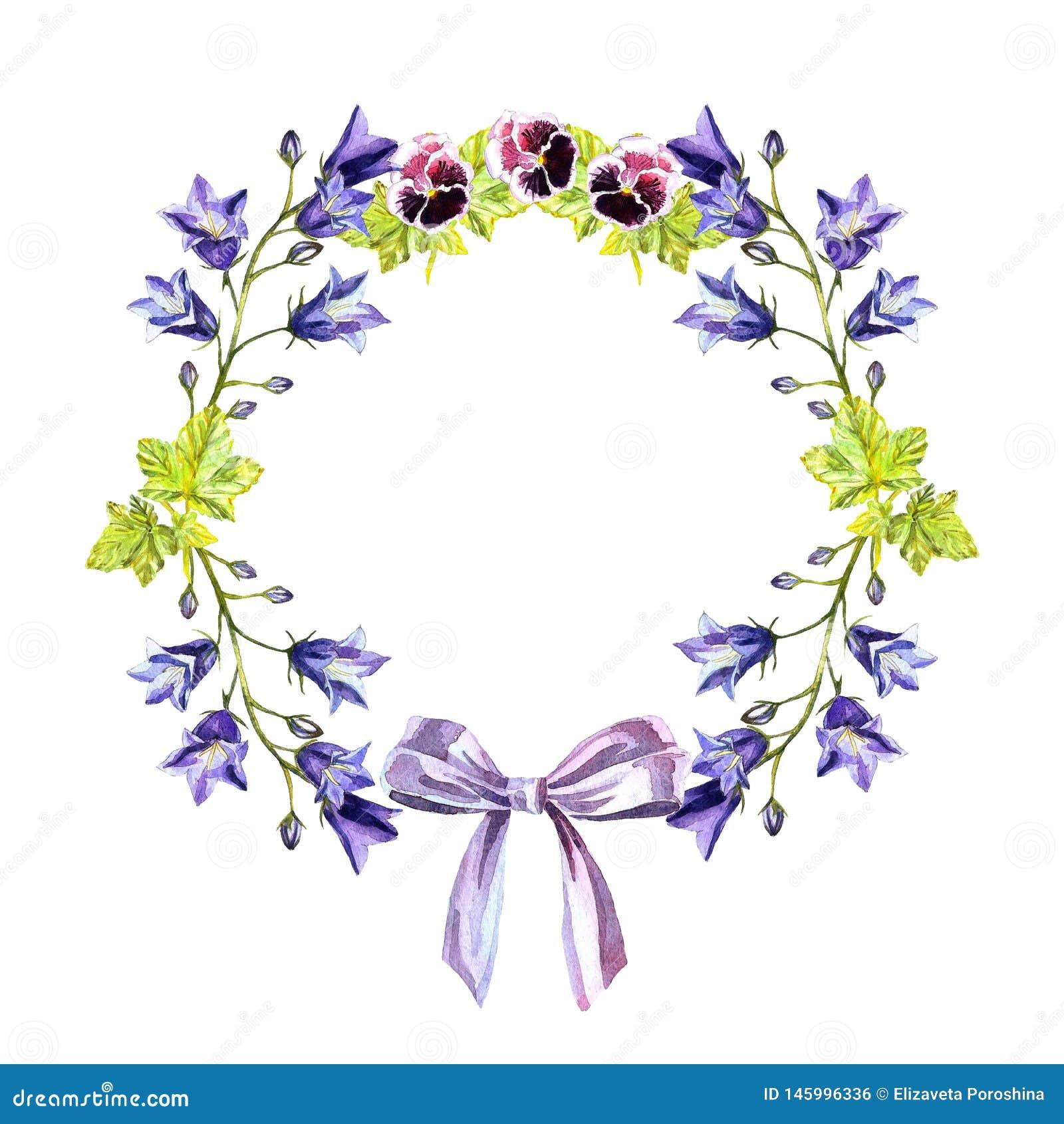Watercolour okręgu rama bluebells, liście, purpurowi fiołki i łęk purpura faborek,