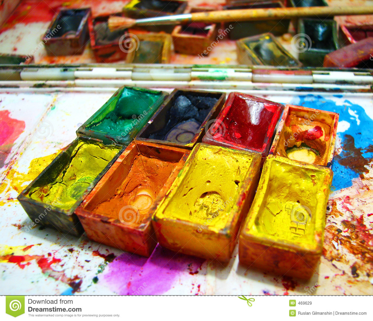 Download Watercolour paints stock image. Image of brush, graphic - 469629