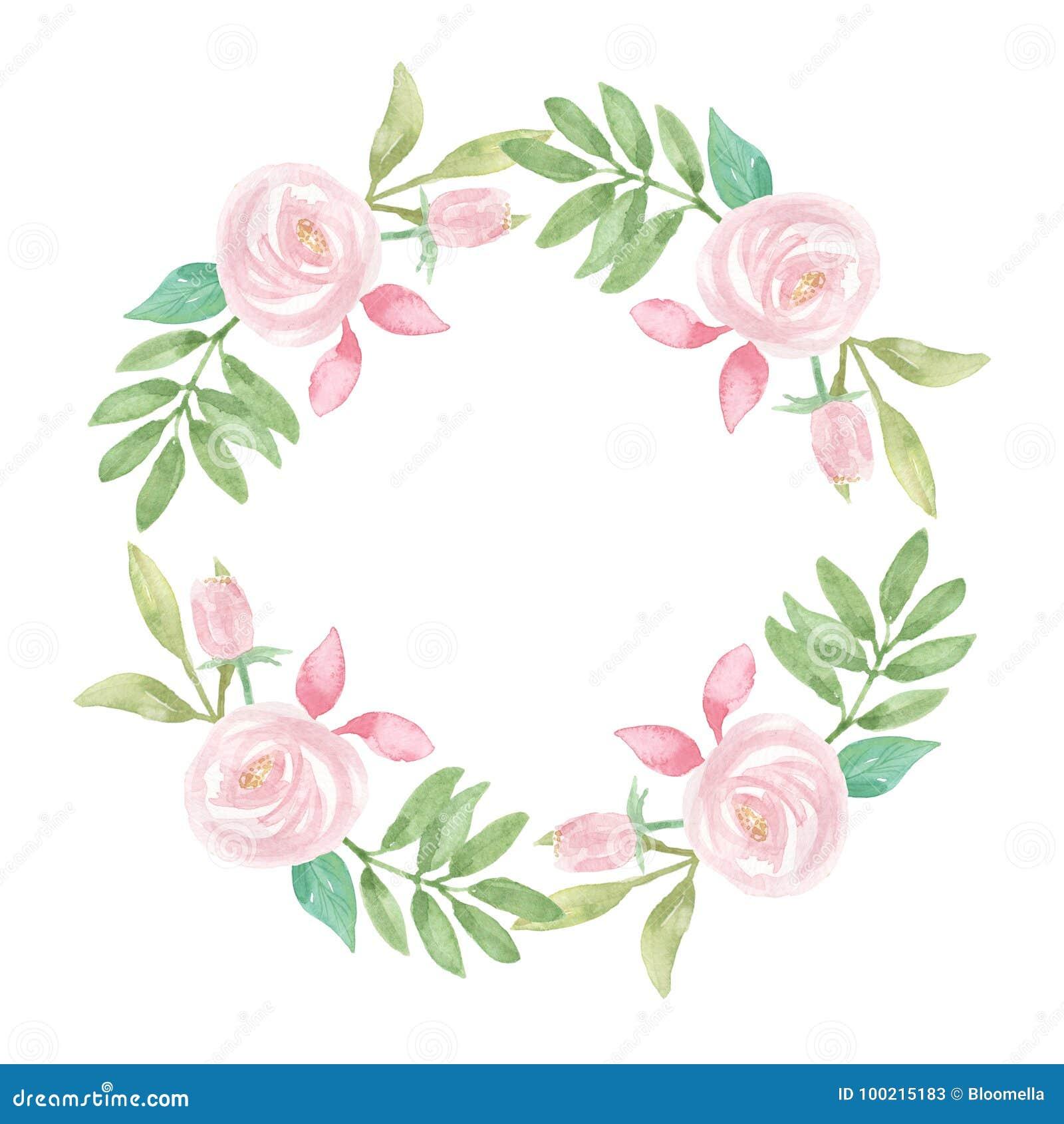 Watercolour-Rahmen-Rosa-Kranz-Hochzeits-Blume Handgemalter Garland ...