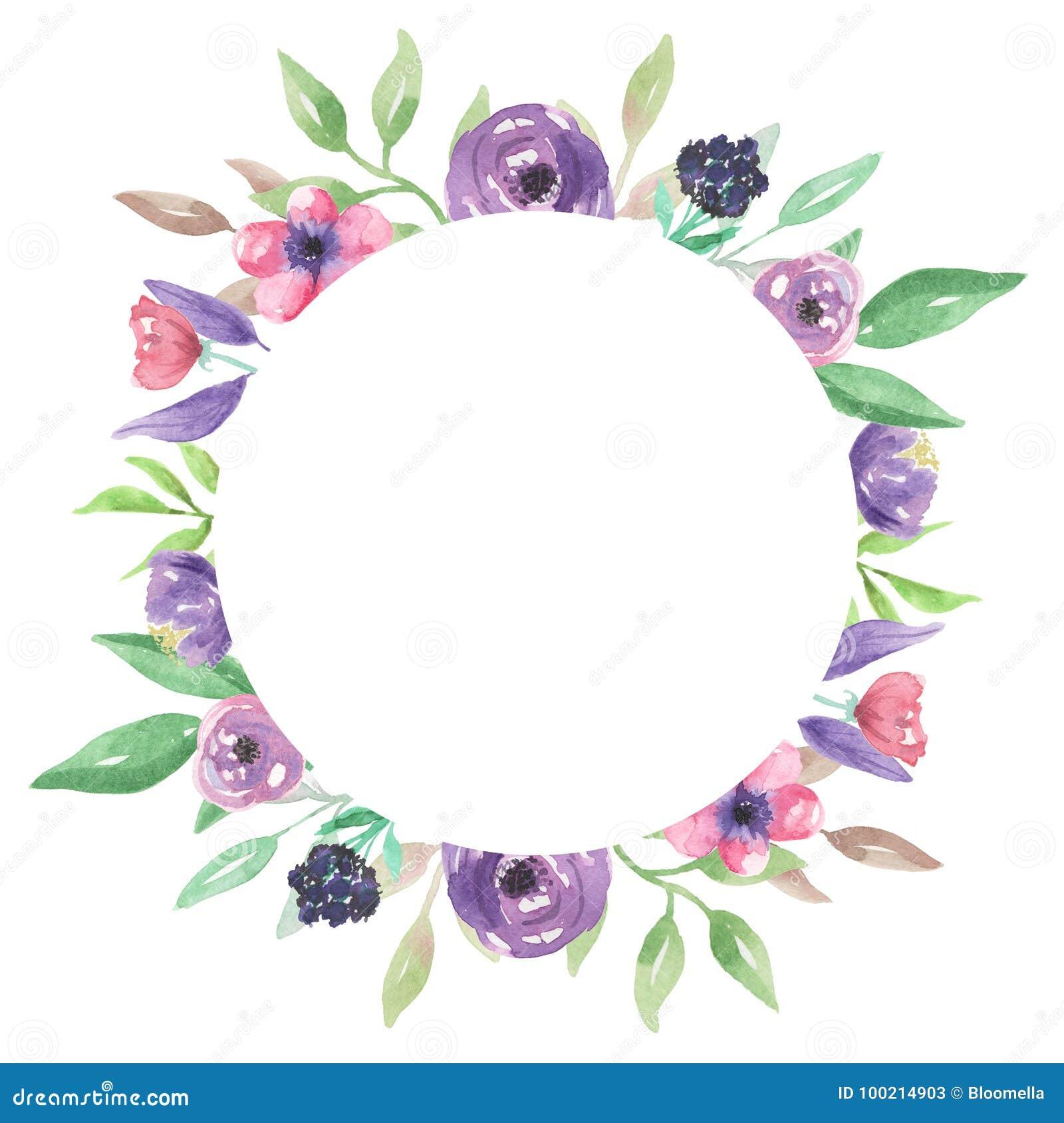 Watercolour Rahmen Rosa Purpurrote Kranz Hochzeits Blumen