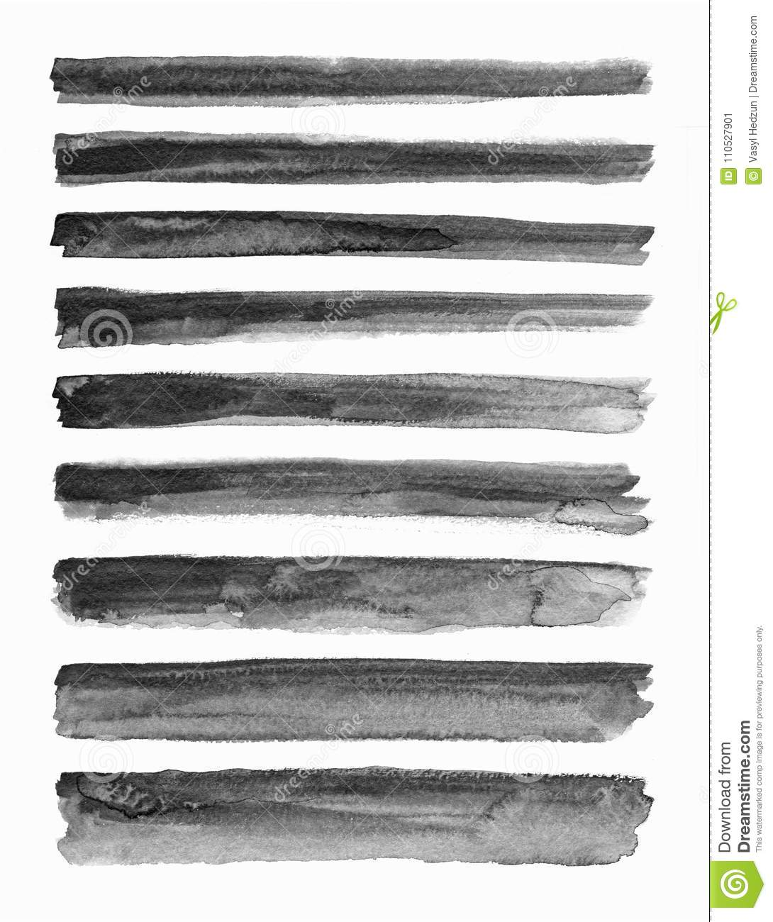 Watercolour. Set of abstract black watercolor stroke backgrounds.
