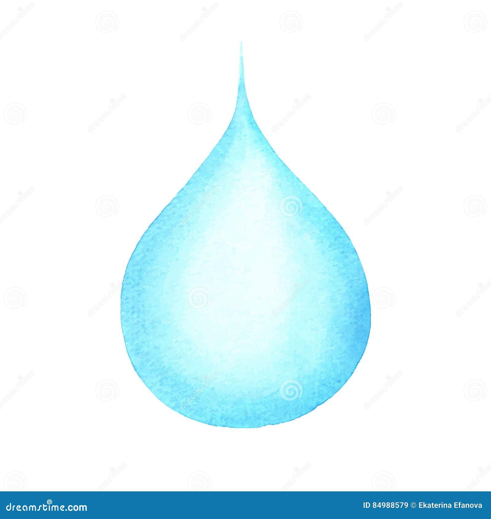 Waterdrop, голубое падение воды изолированное на белизне, дождевой капле