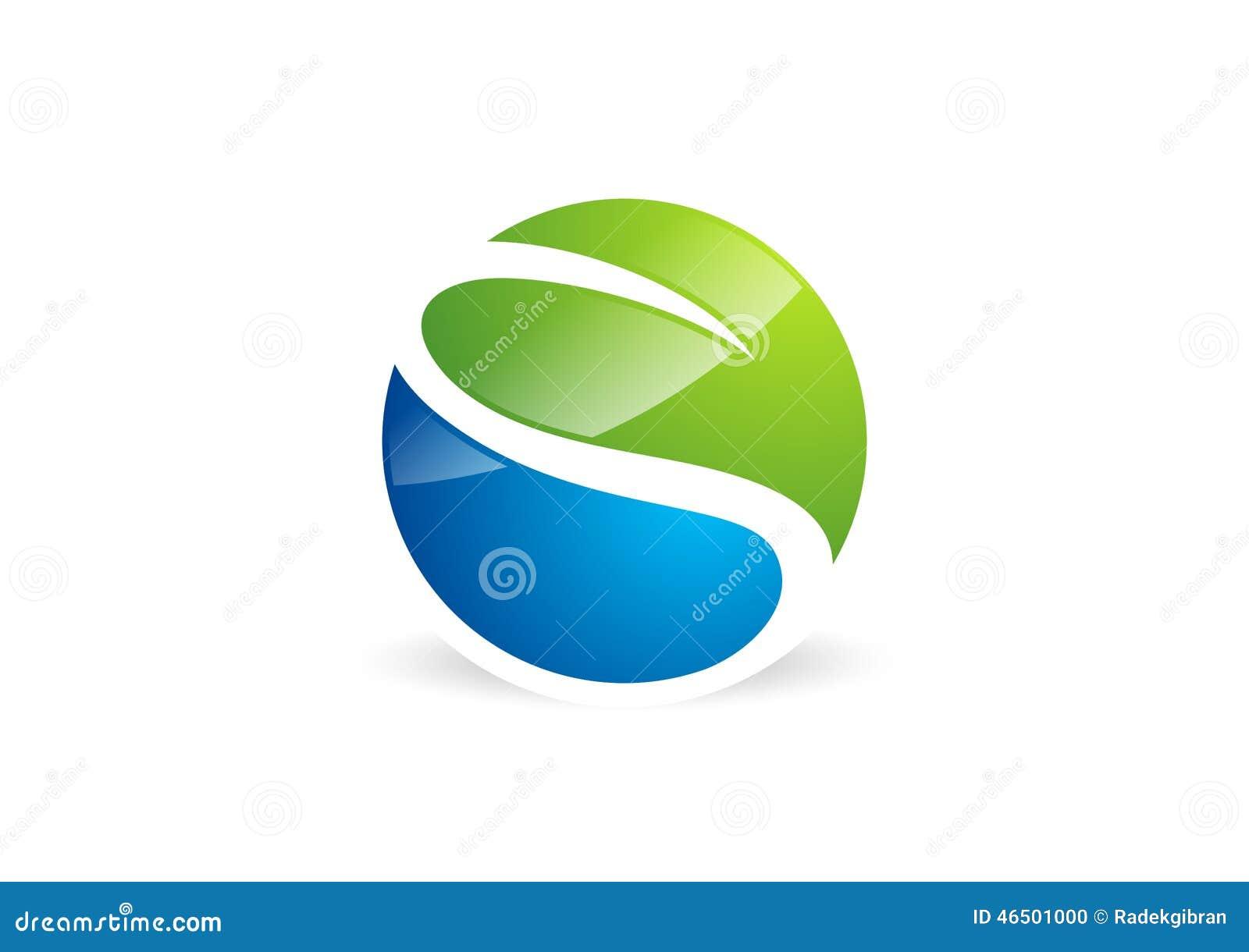 Waterdrop, feuille, logo, cercle, usine, ressort, symbole de paysage de nature, nature globale, icône de la lettre s