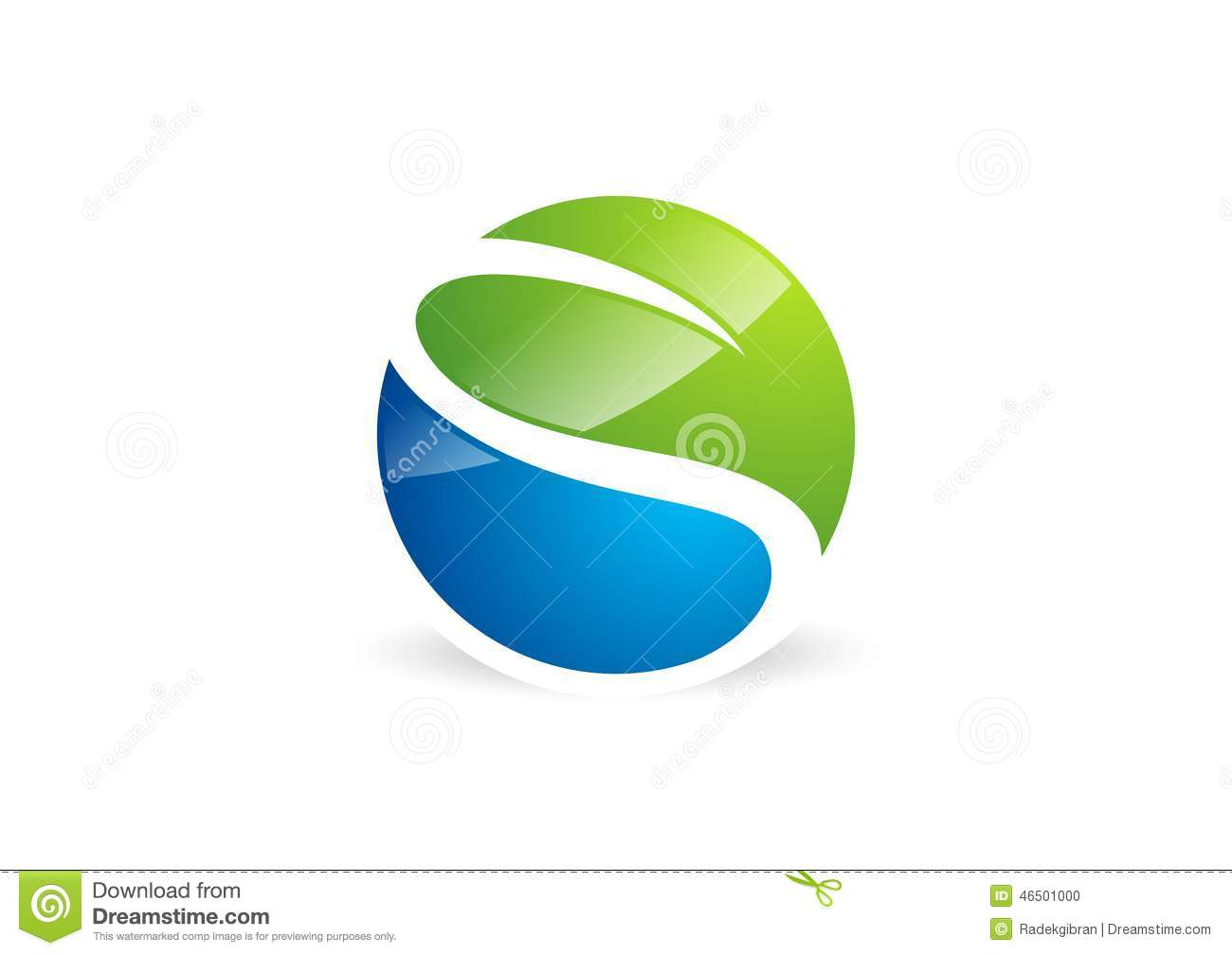 Waterdrop leaf logo circle plant spring nature landscape for S architecture logo