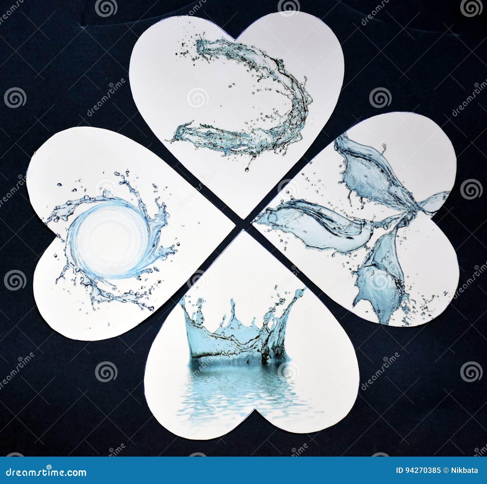Waterdrops aux coeurs comme collage de papier abstrait