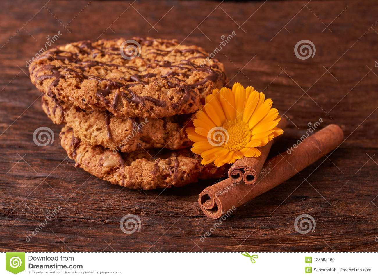 Watered Chocolate Syrup Cookies On Wooden Table Cute Composition