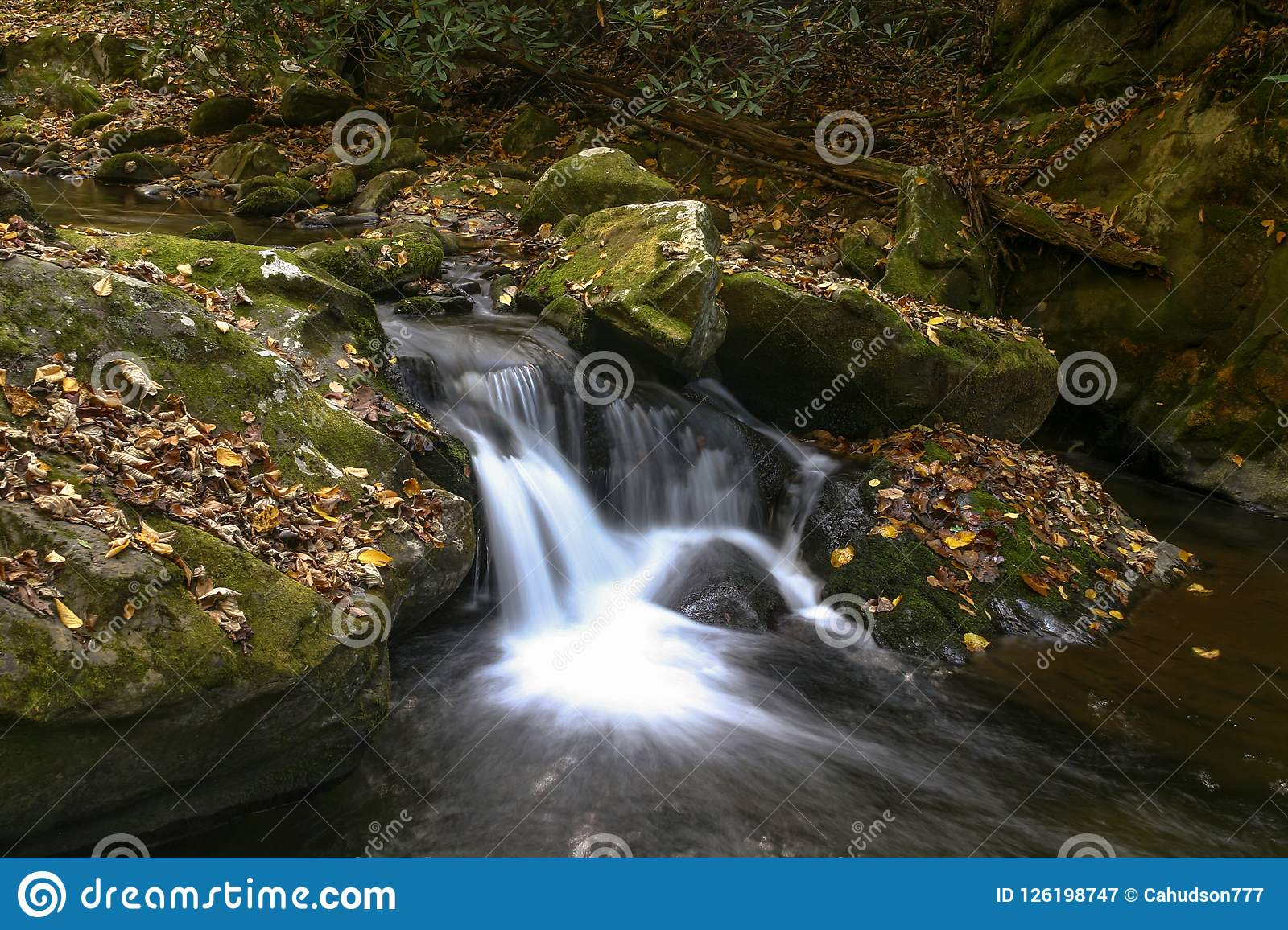 Waterfall along the stream in the Smoky Mountains in fall.
