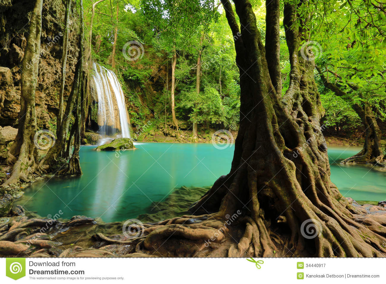 Waterfall Beautiful Scenery In The Tropical Forest Stock Image