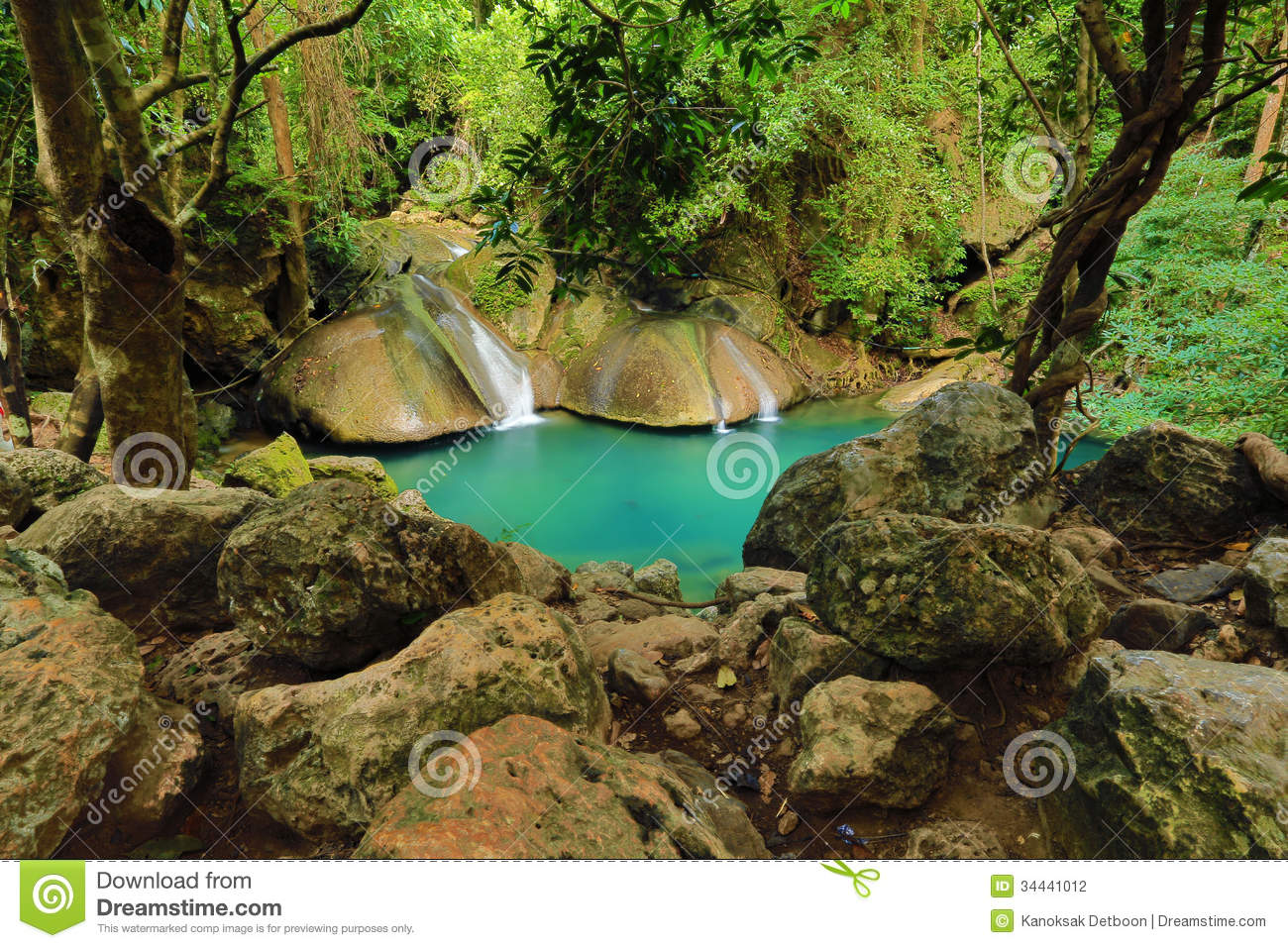 Beautiful waterfall in thailand s erawan waterfalls national park - Waterfall Beautiful Scenery In The Tropical Forest Stock