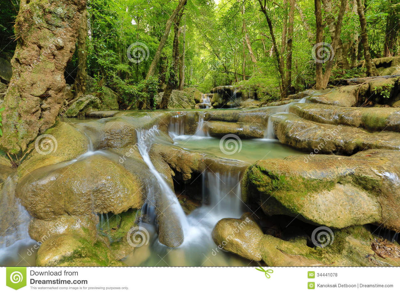 Waterfall Beautiful Scenery In The Tropical Forest Stock Photo