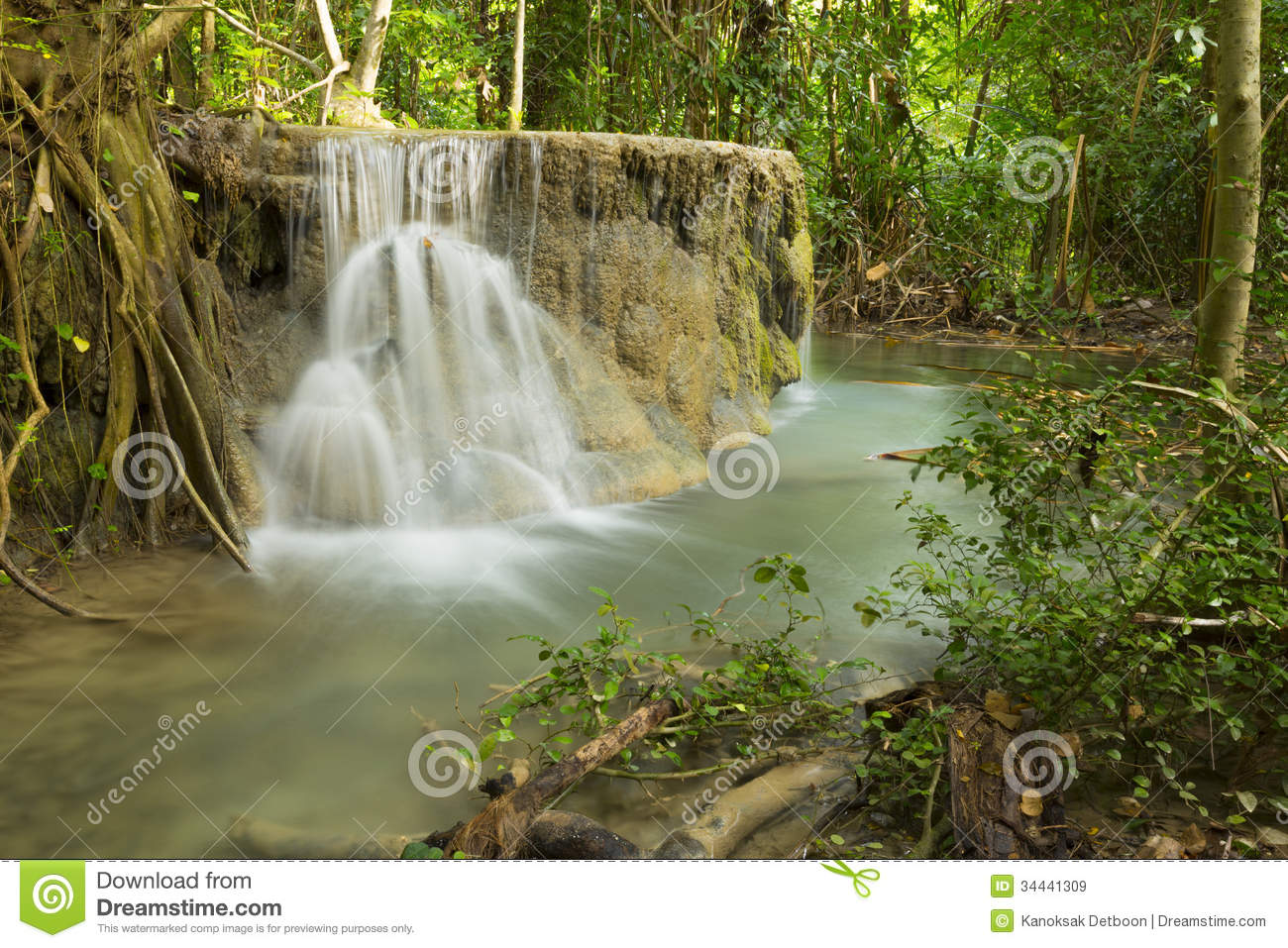Beautiful waterfall in thailand s erawan waterfalls national park - Waterfall Beautiful Scenery In The Tropical Forest
