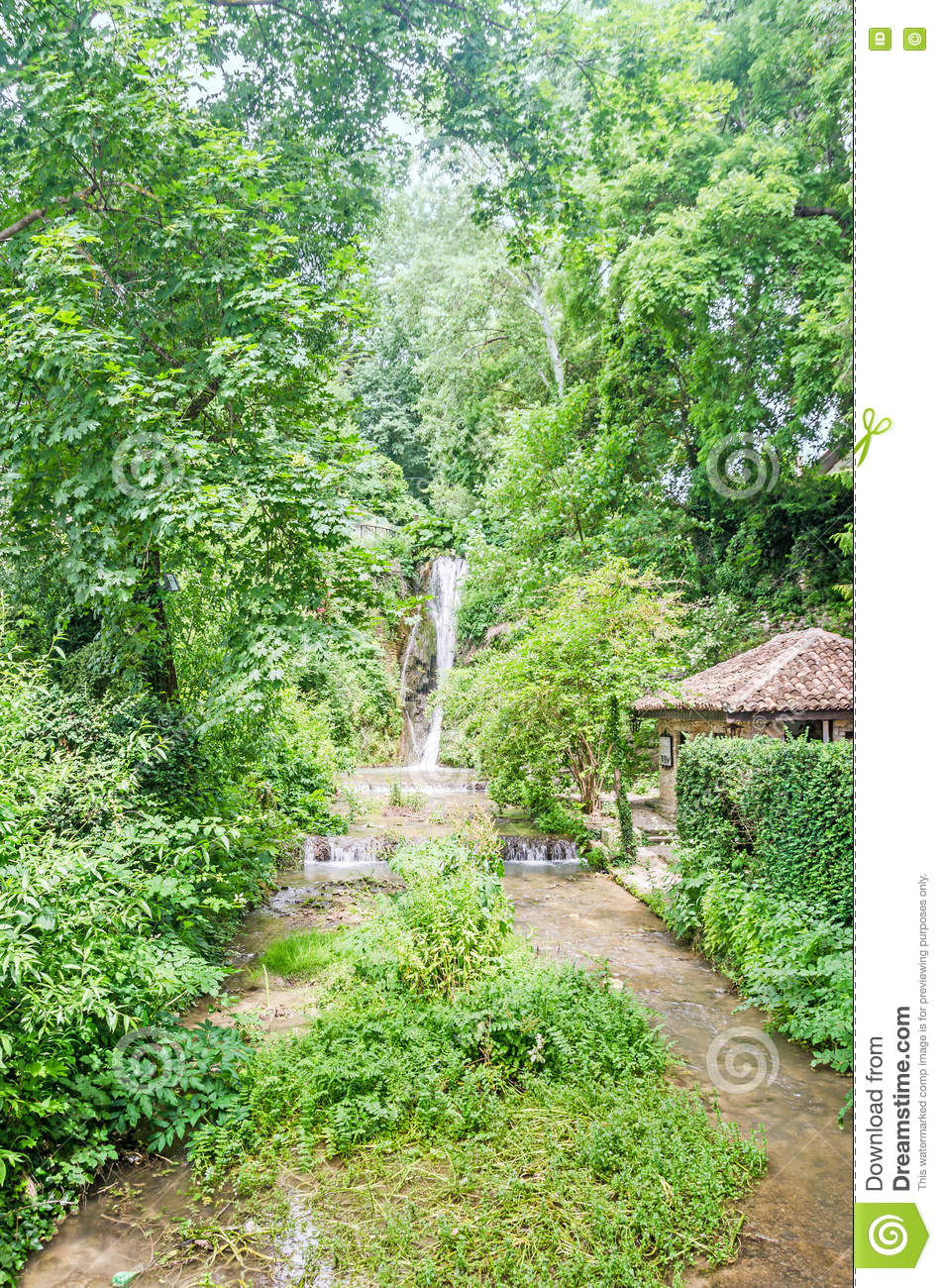 Waterfall At Botanical Garden Stock Photo 21812976