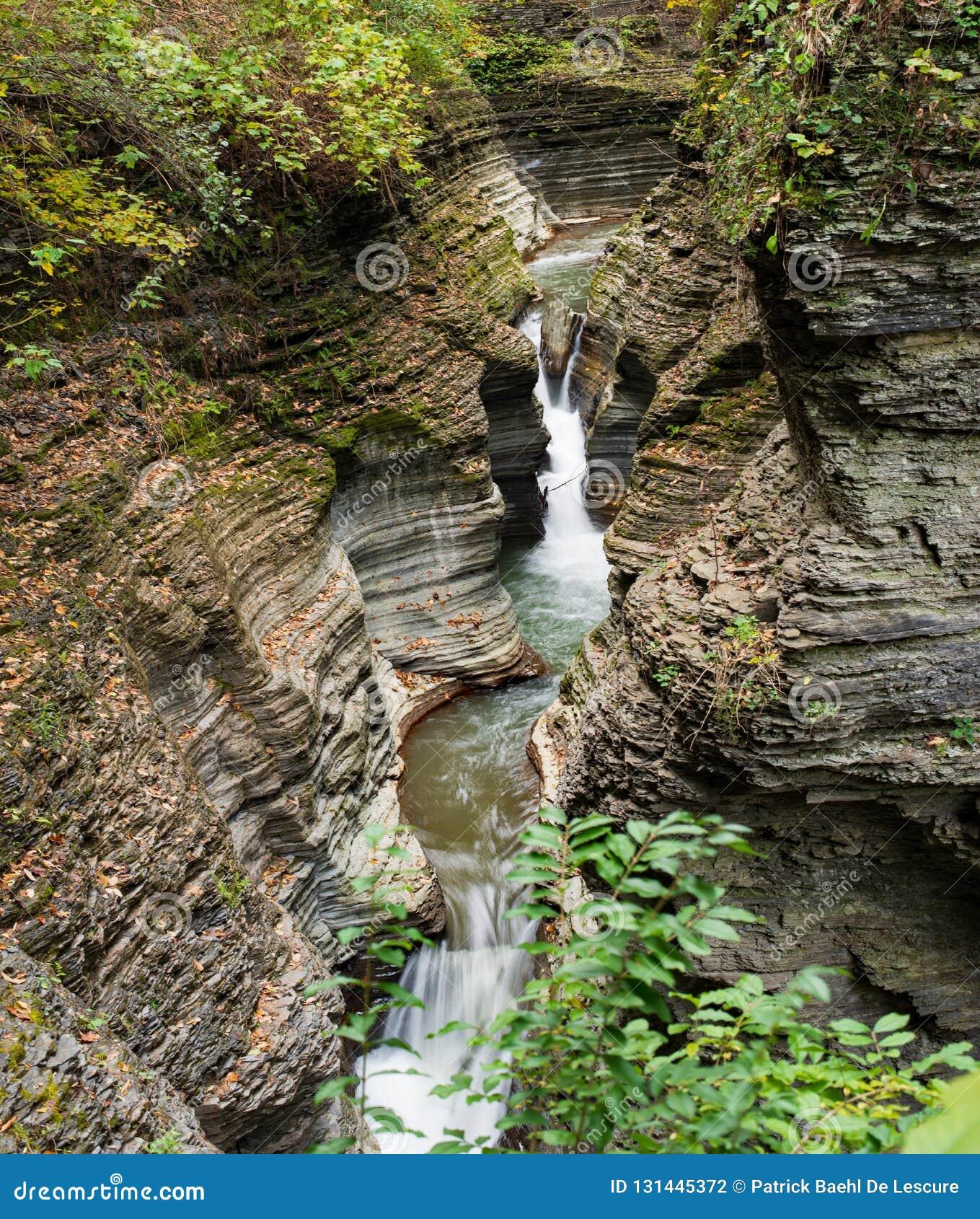 Waterfall cascading over Glen Gorge in Watkins Glen