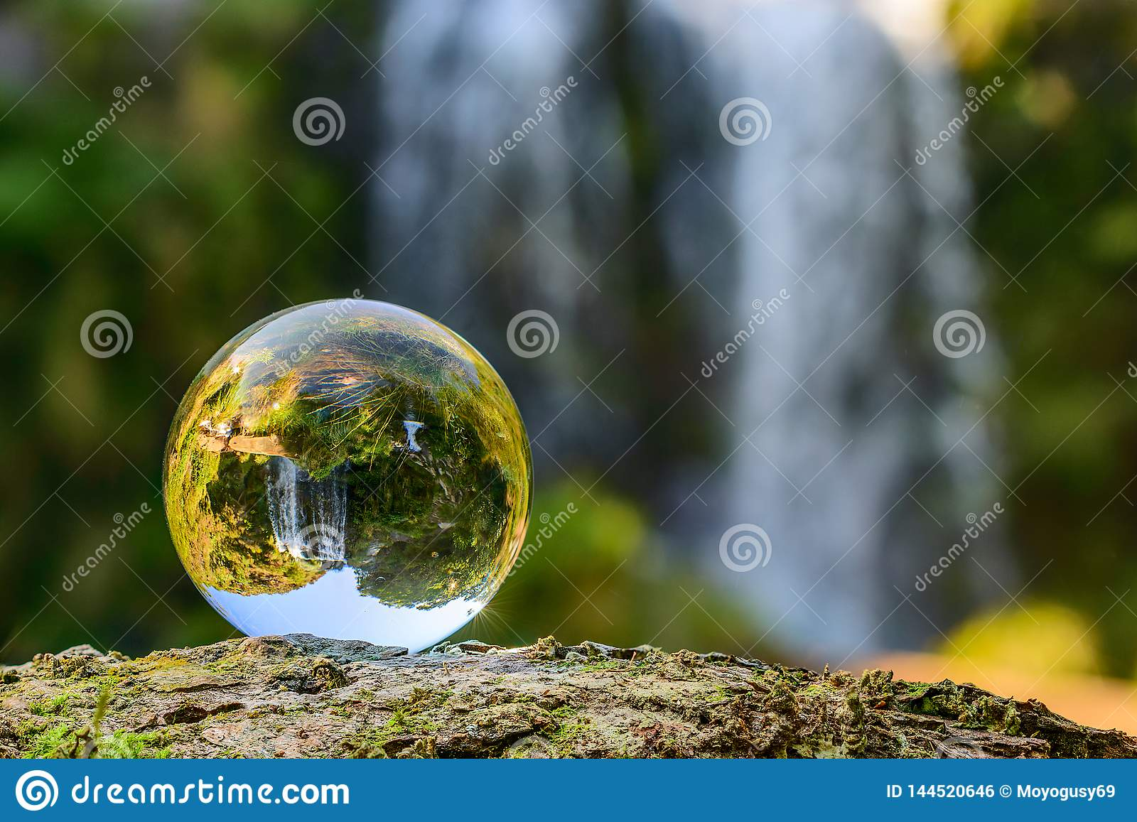 Waterfall in a crystal ball
