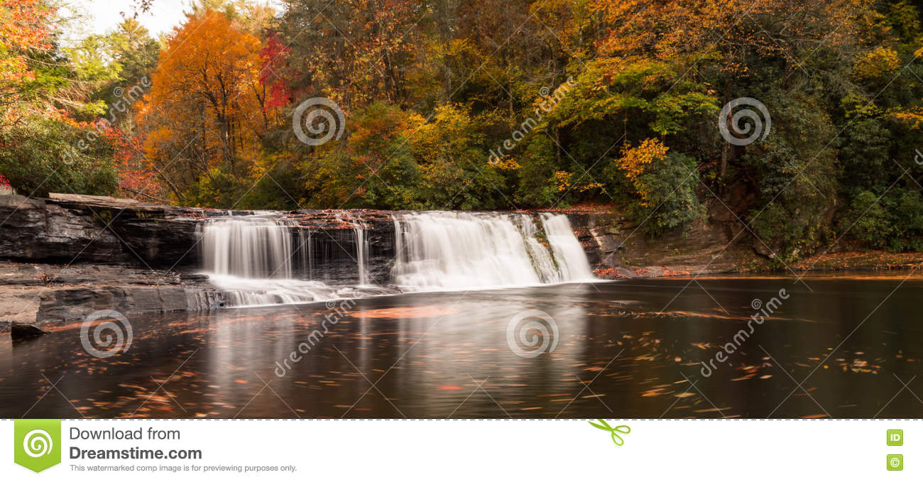 Waterfall and forest in the fall