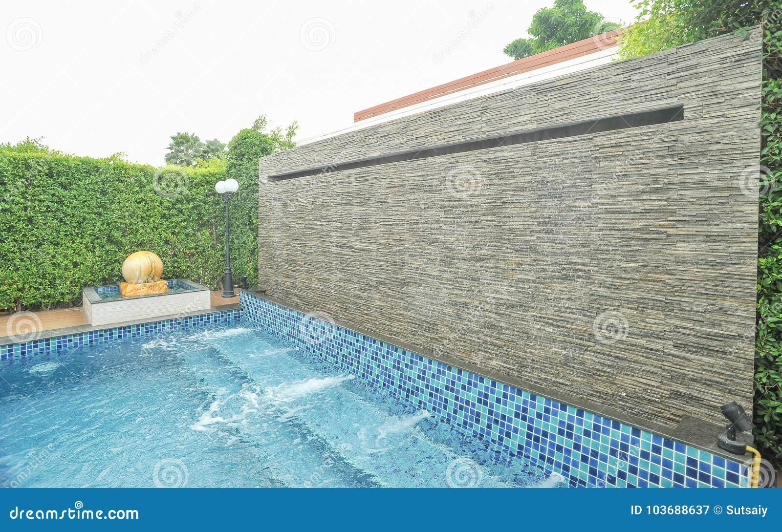 Waterfall Fountain In Swimming Pool Stock Image - Image of ...