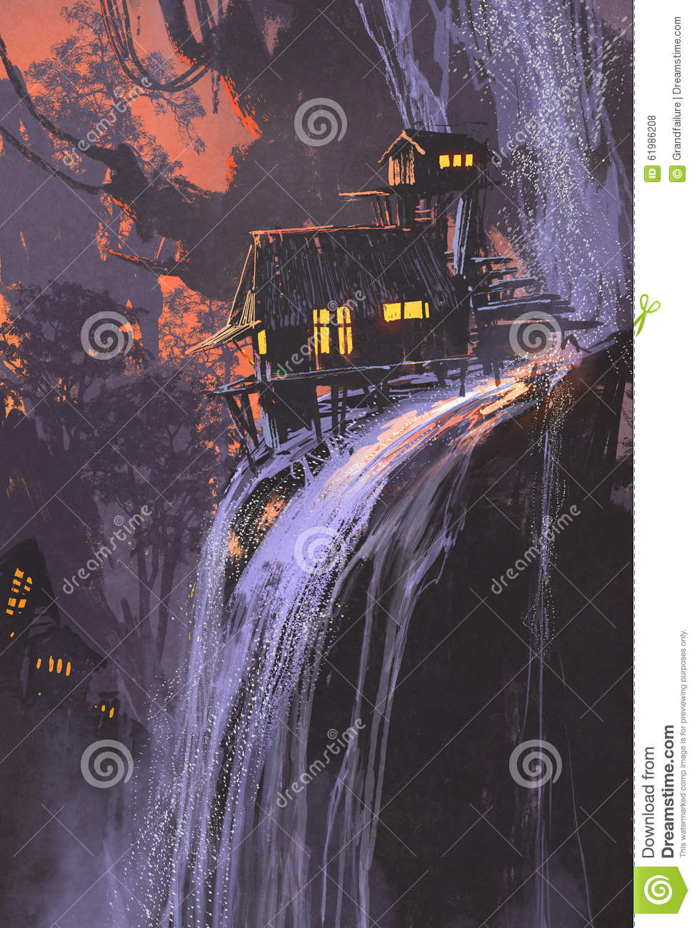 Waterfall house at sunset for Digitally paint your house