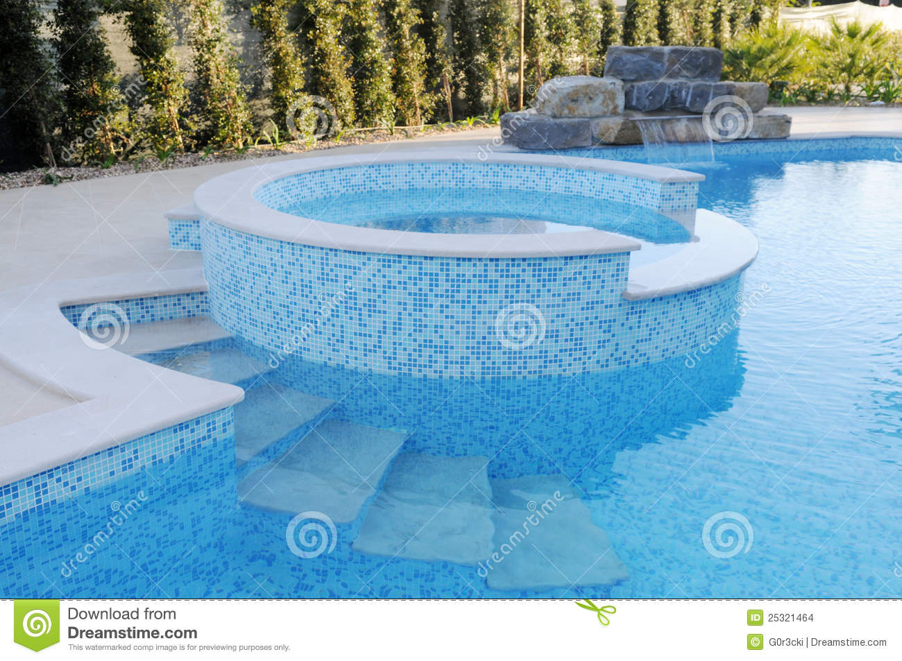 Pool With Blue Tiles Artificial Waterfall Round Kids