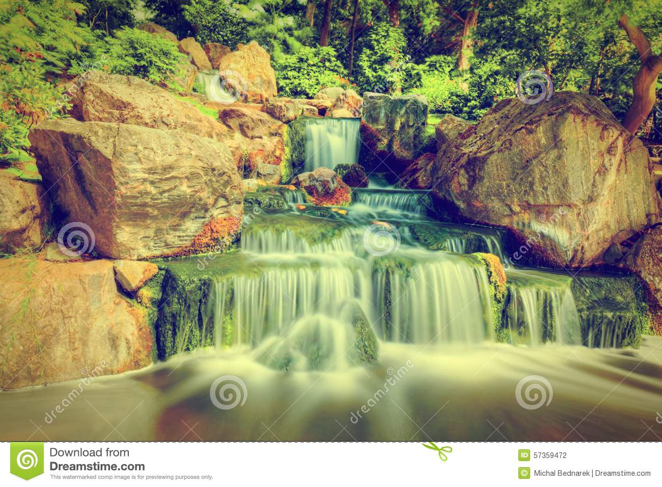 Waterfall In Japanese Garden Holland Park In London UK Stock Photo