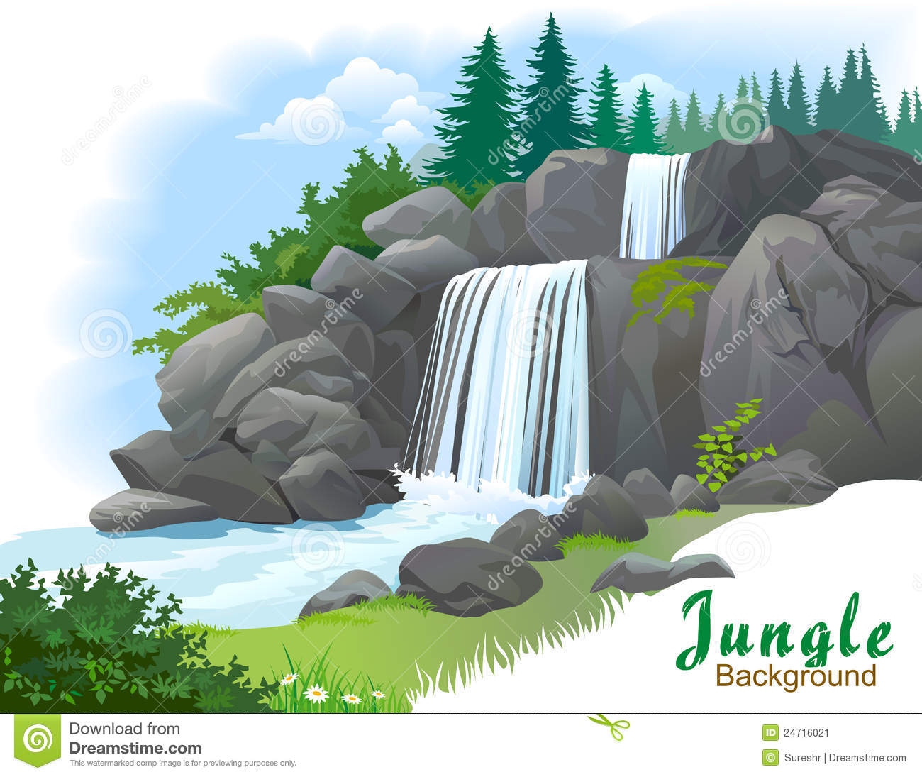 Waterfall In A Jungle Stock Image - Image: 24716021