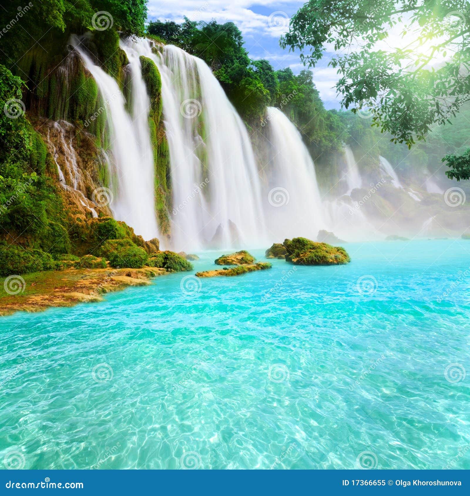Landscape Waterfalls: Waterfall Landscape Stock Image. Image Of Foliage, Light