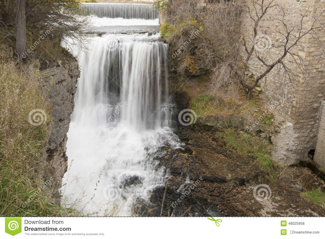 Waterfall near old building stock photo image 46025958 for House built on waterfall