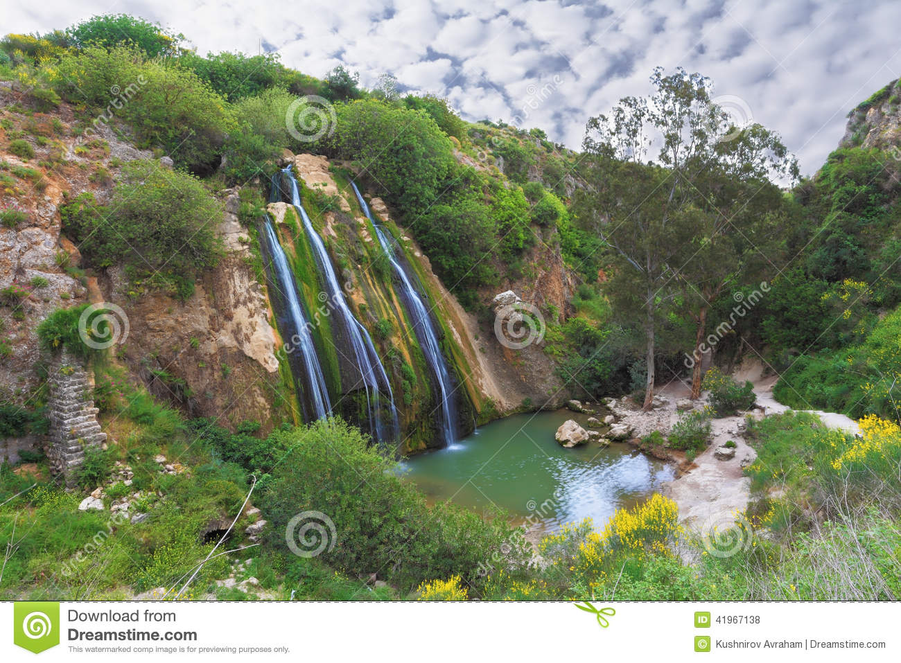 The Waterfall In Northern Israel Stock Photo Image 41967138