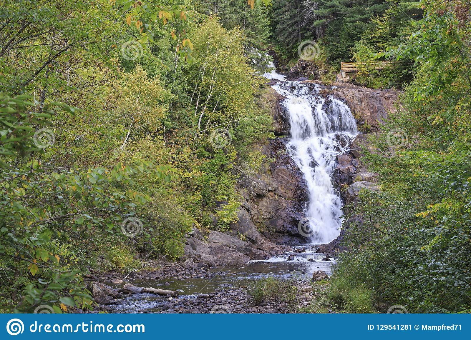Waterfall On The Petite Rivire Bostonnais Near La Tuque In Quebec Canada