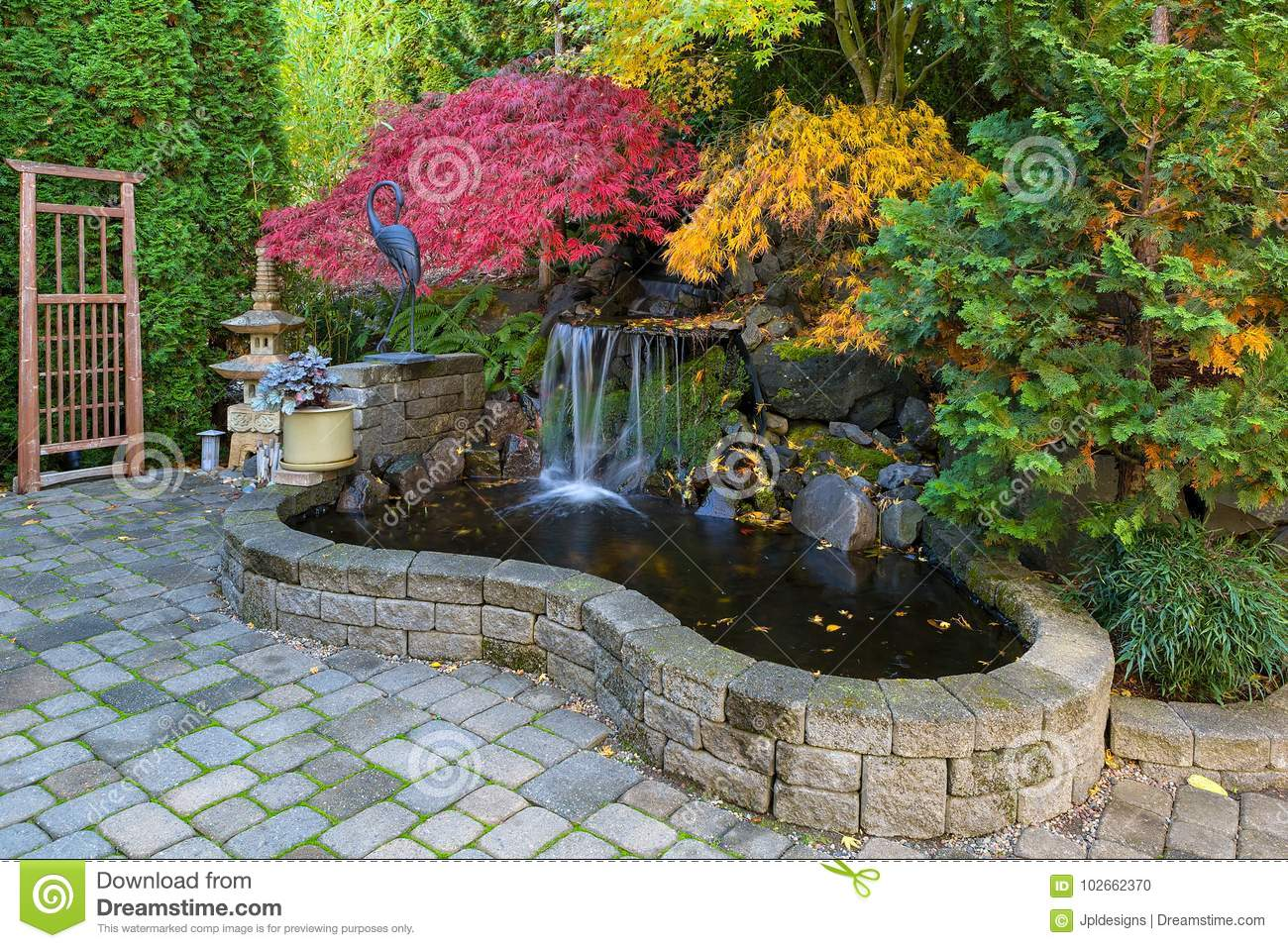 Image of: Waterfall Pond In Home Backyard During Fall Season Stock Photo Image Of Japanese Coralbell 102662370
