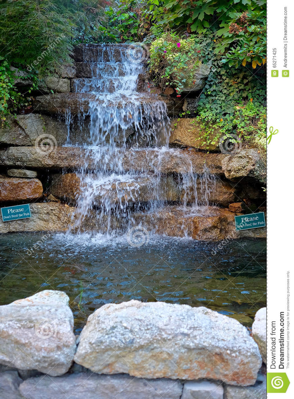 Waterfall and pond landscaping stock photo image 65271425 for Setting up a garden pond